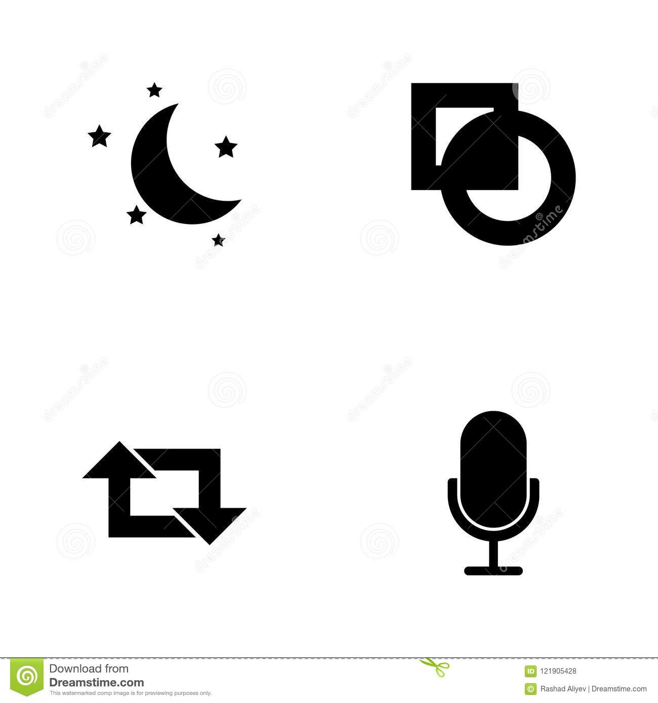 Vector illustration set web icons. Elements microphone, repeat sign, cut sign and half moon and stars icon