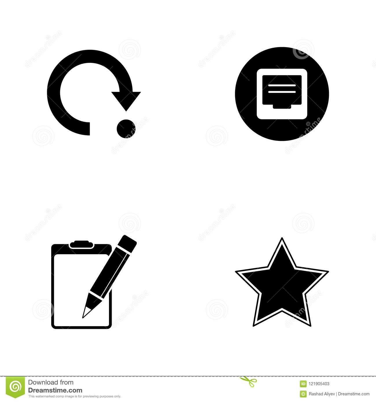 Vector illustration set web icons. Elements star, paper tablet and pencil, comments sign and return sign icon