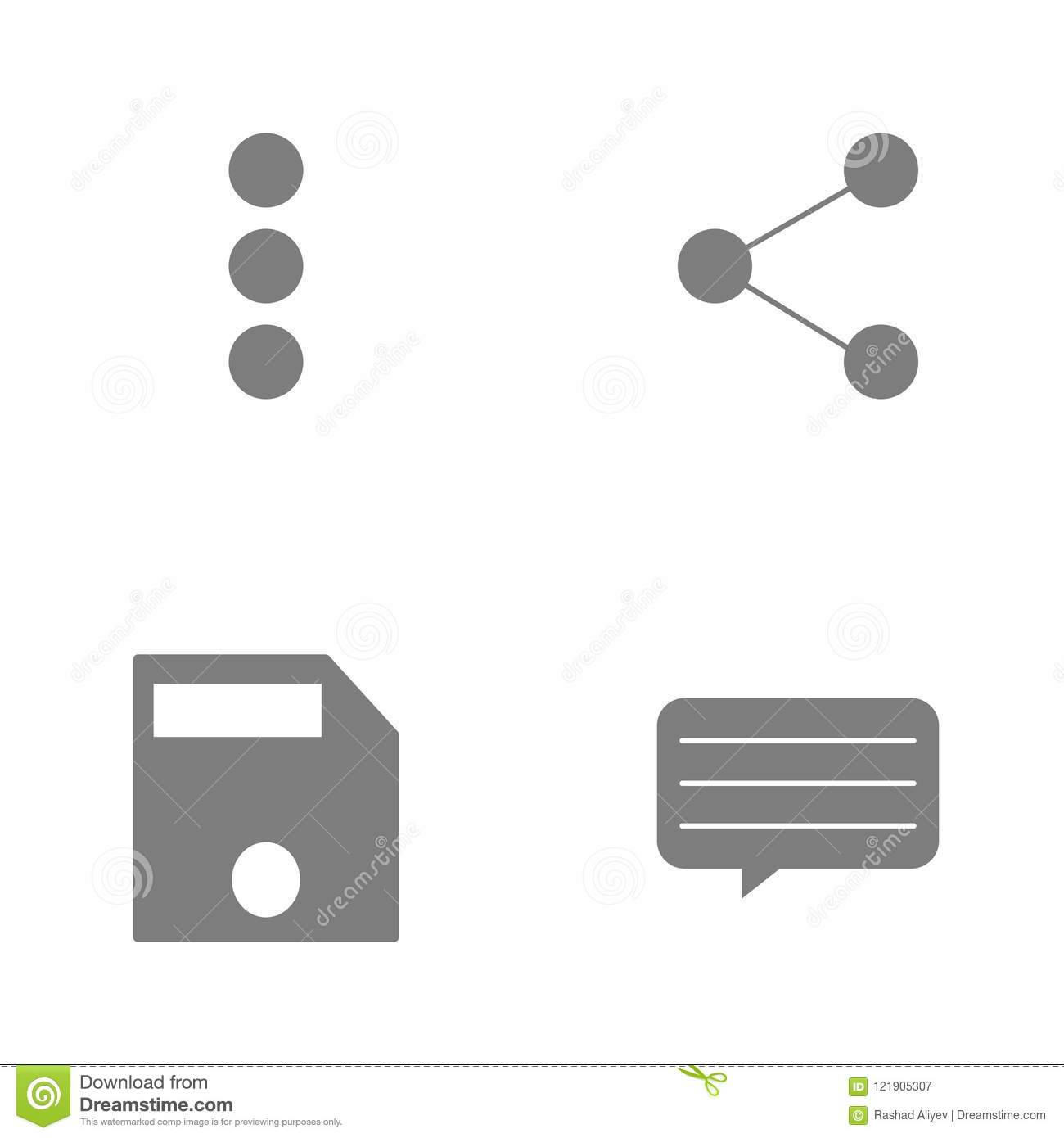 Vector illustration set web icons. Elements text message, file save, Shareand Triple dotsicon