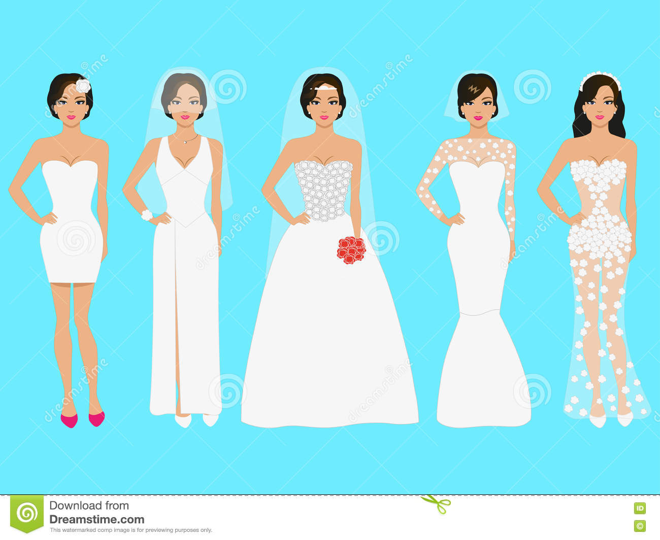 Vector Illustration Of A Set Of Wedding Dresses Stock Vector ...