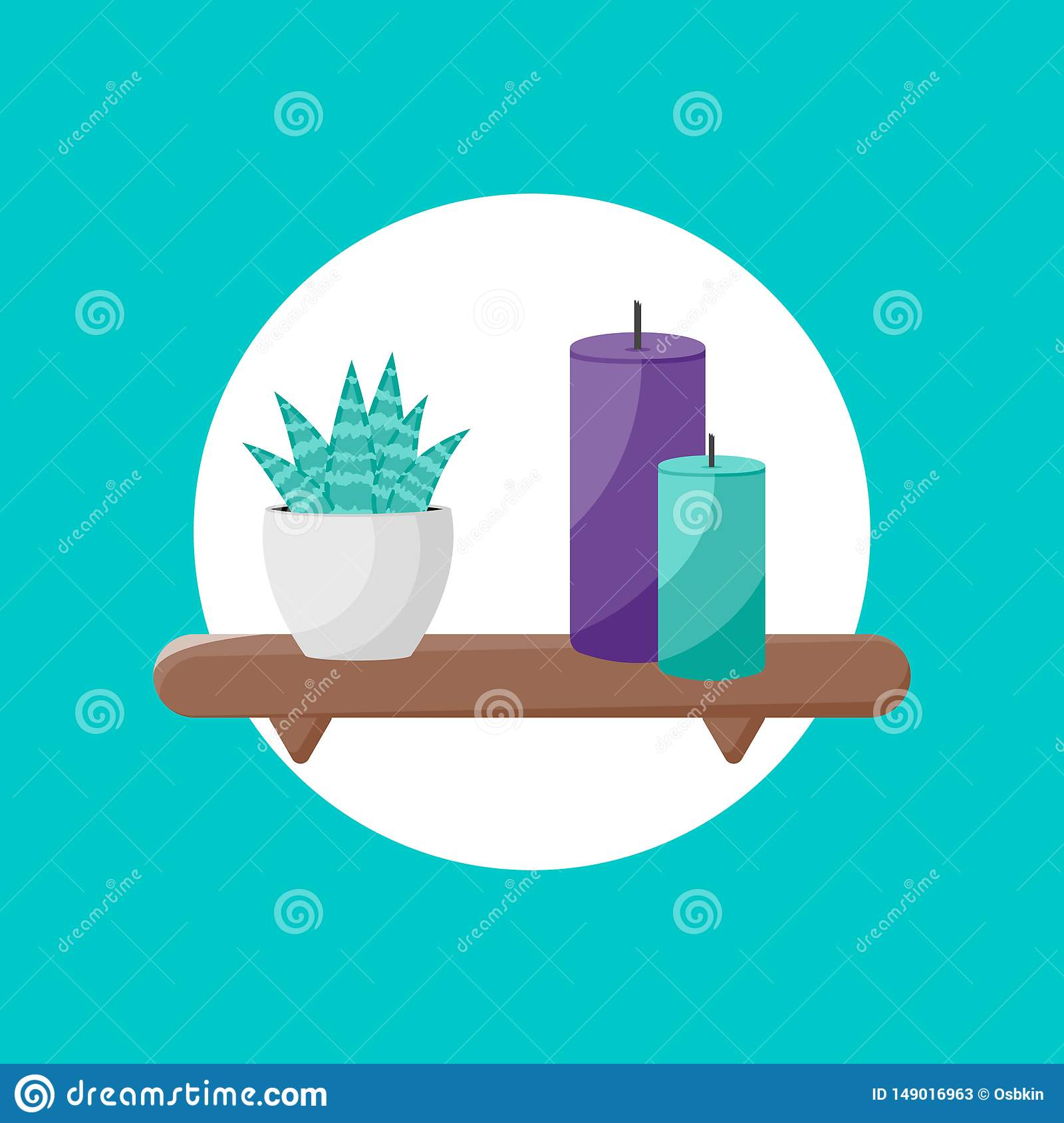Shelf icon with plant and candles icon