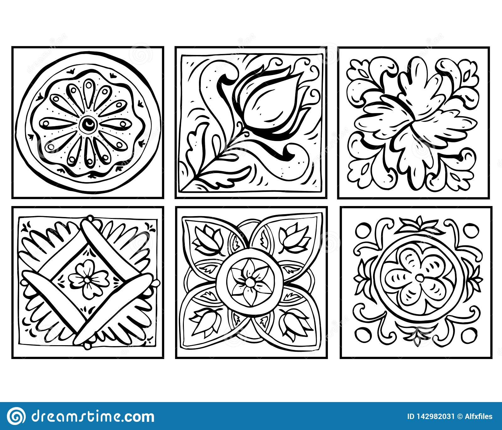 Vector illustration of Sicilian pottery doodles set black and white. Ornaments isolated on white background. Decor