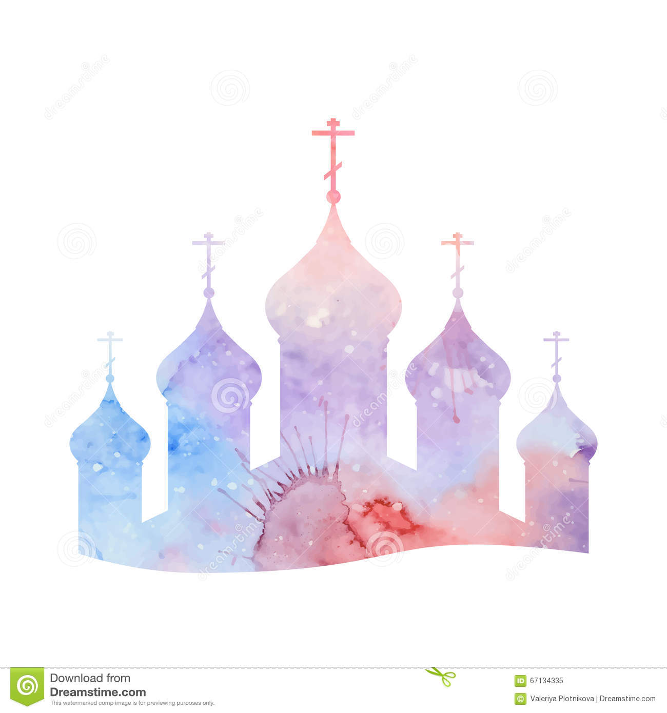 Vector Illustration With A Silhouette Of The Orthodox Church Stock