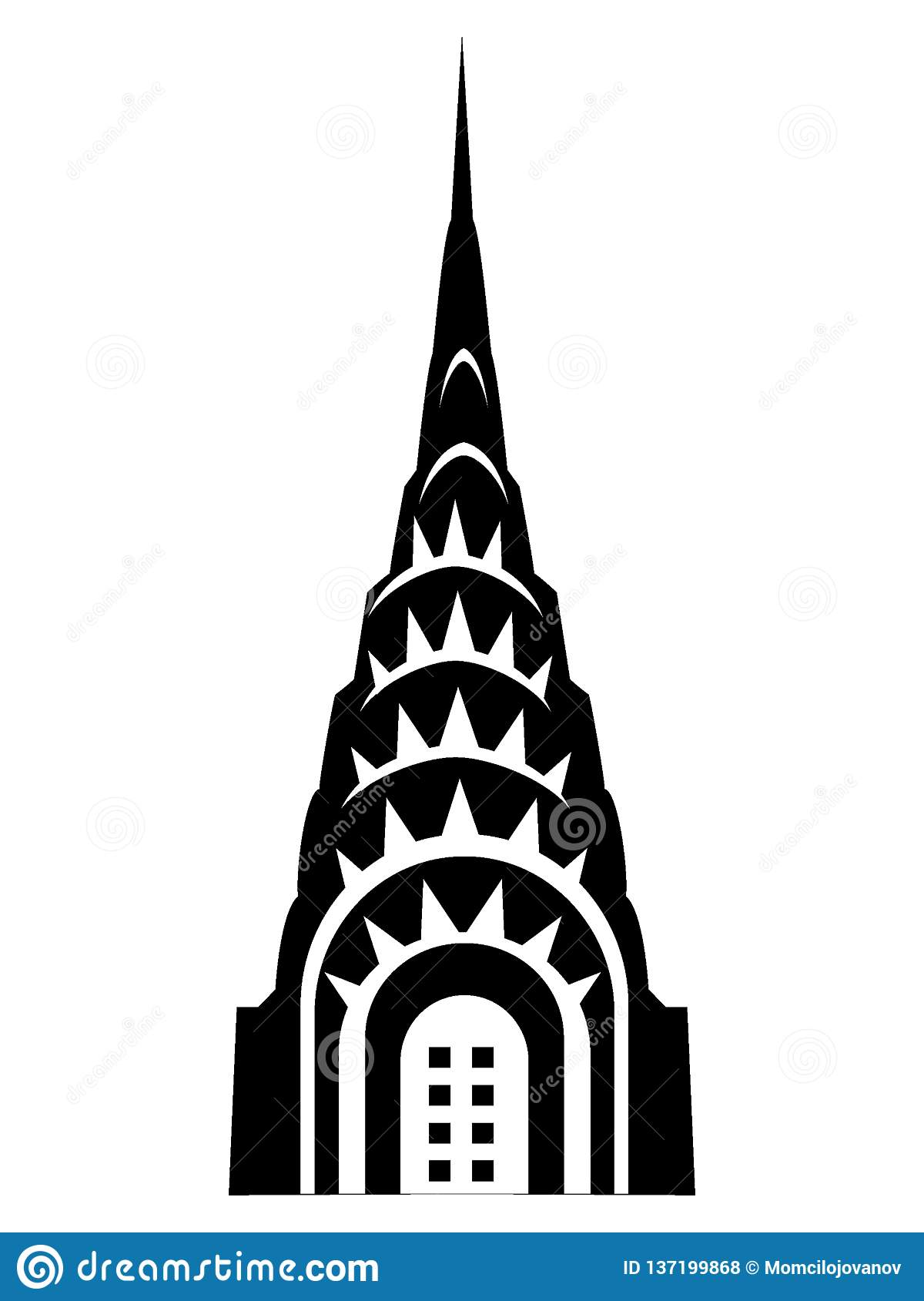 Silhouette picture of a Chrysler Building