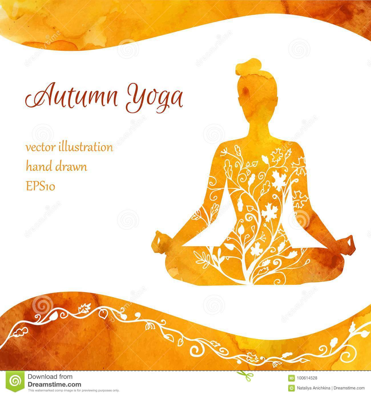 Vector card template of yoga classes