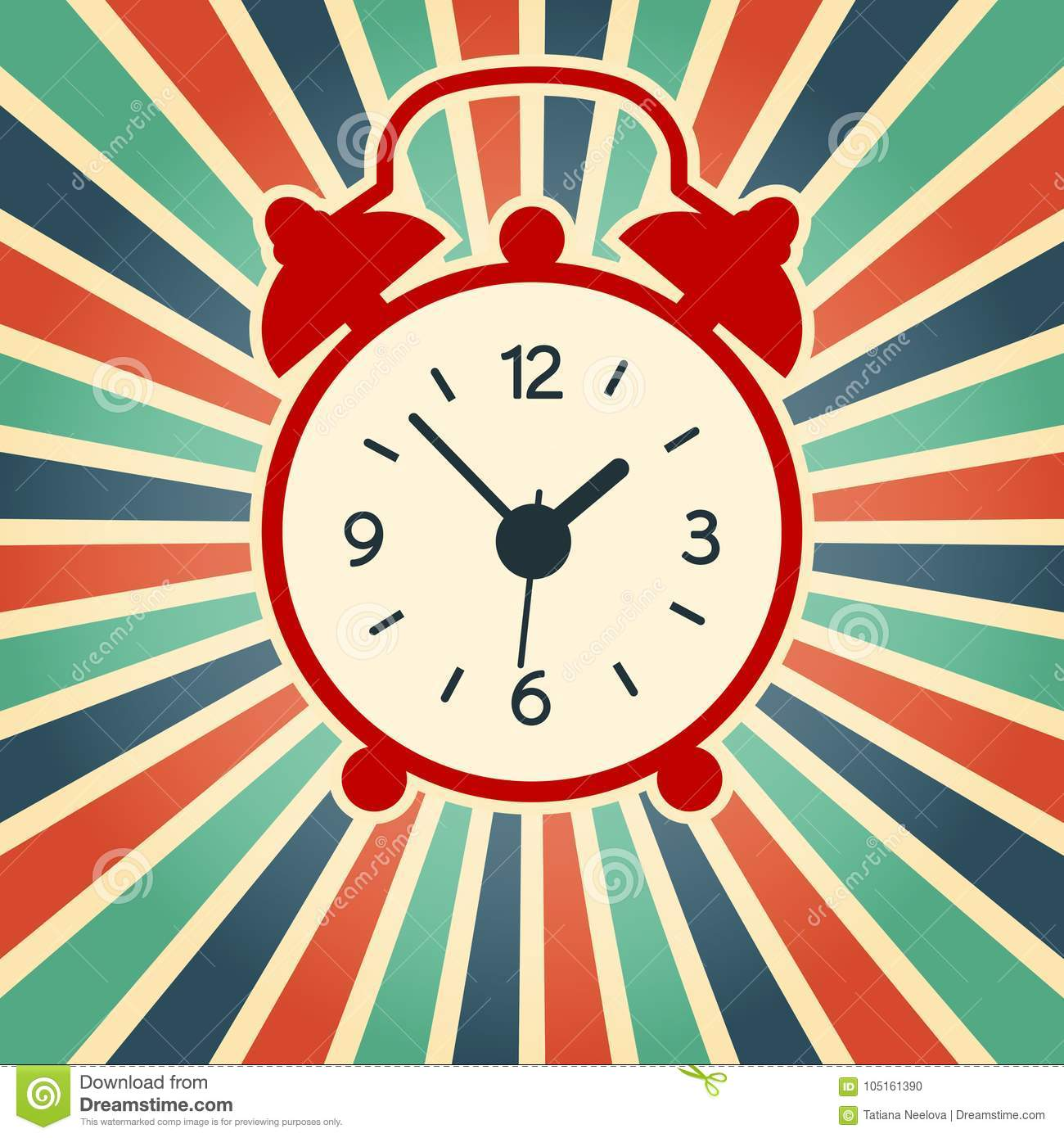A vector illustration of simple red alarm clock on the vintage background. Old, modern clock silhouette.