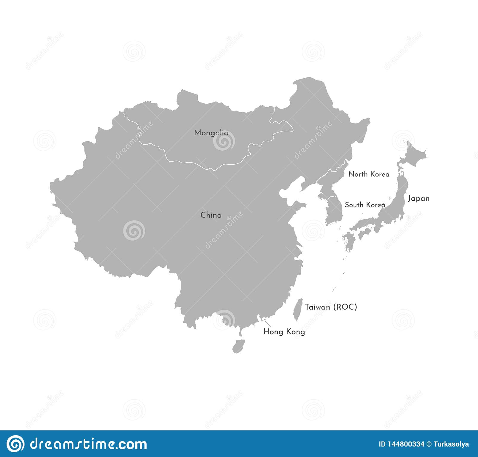 Vector Illustration With Simplified Map Of Asian Countries ...