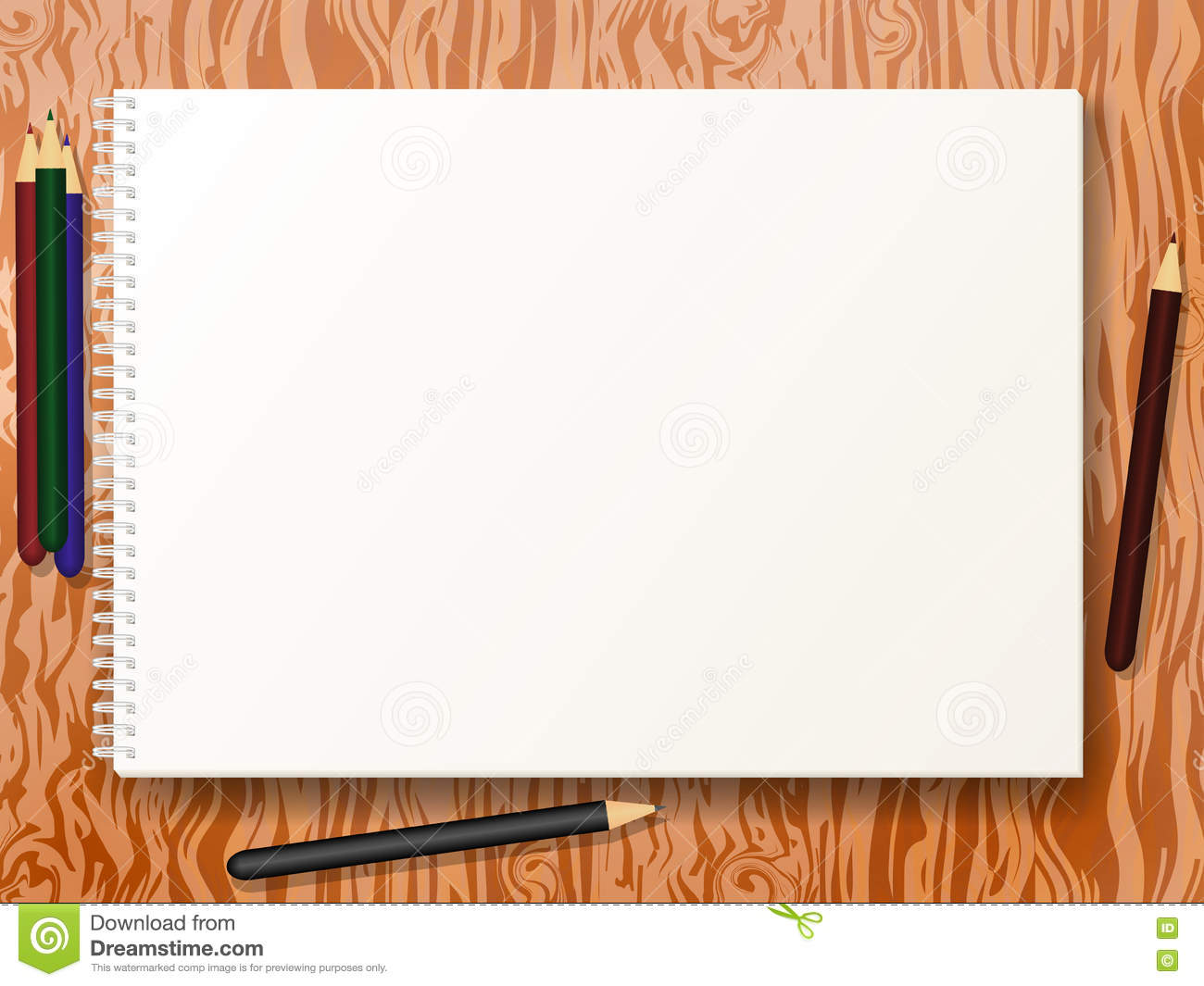 Vector Illustration Sketch Pad With Pencils Stock Vector - Illustration Of Sheet Pencil 71230351