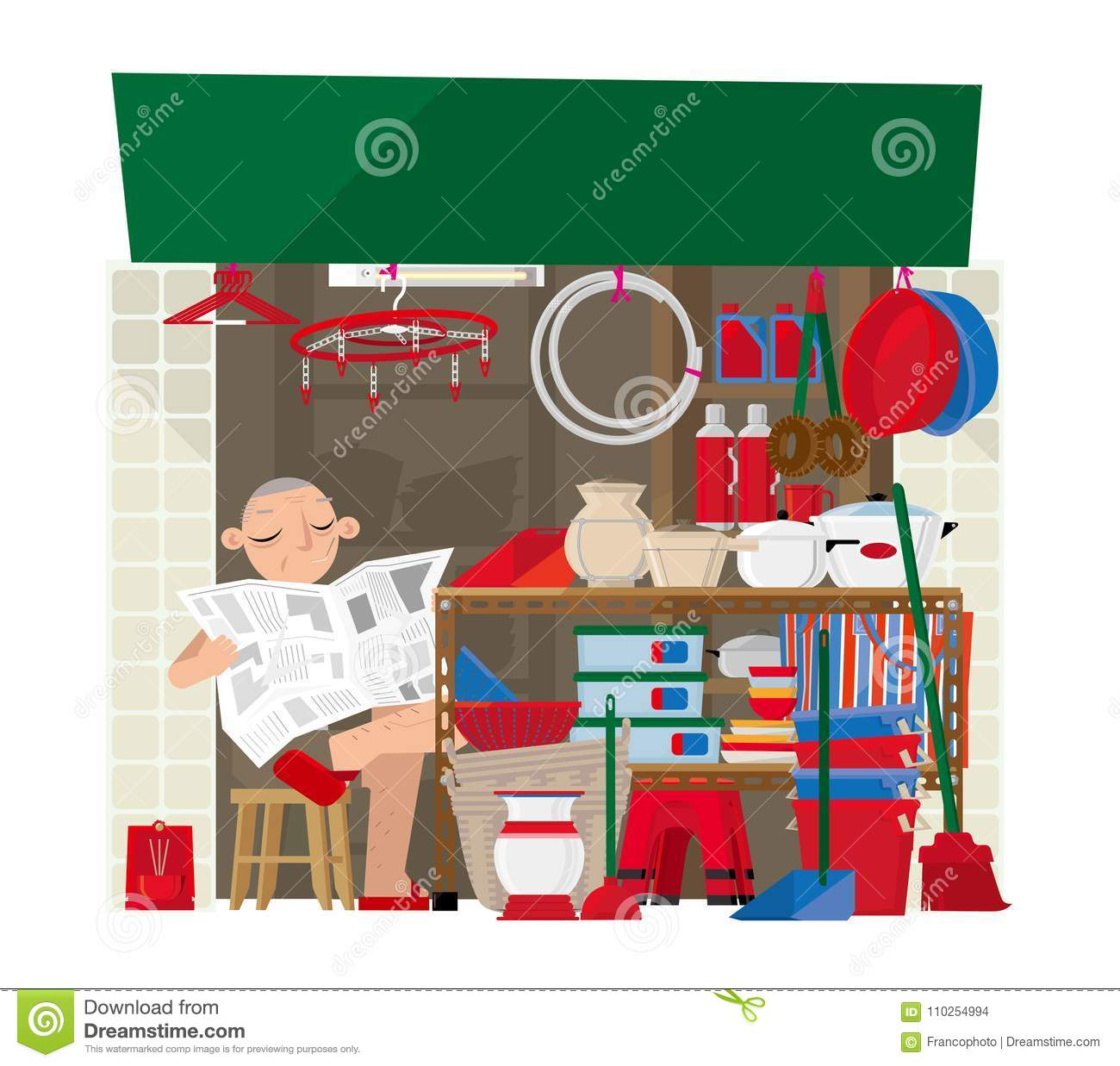 Household Goods Store: A Small Household Goods Store In Hong Kong Stock Vector