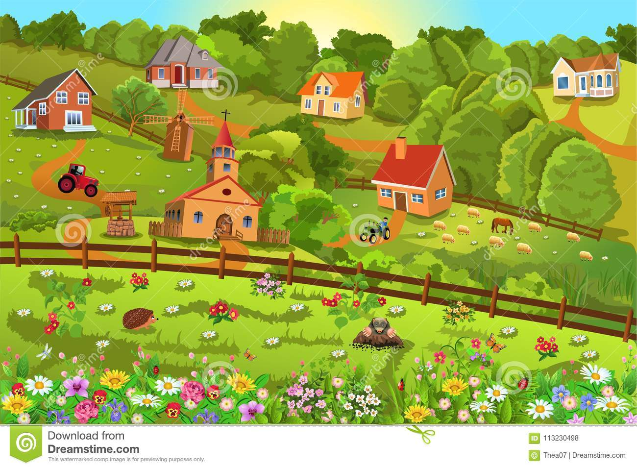 Vector illustration of a small village on hills with lots of flowers all around