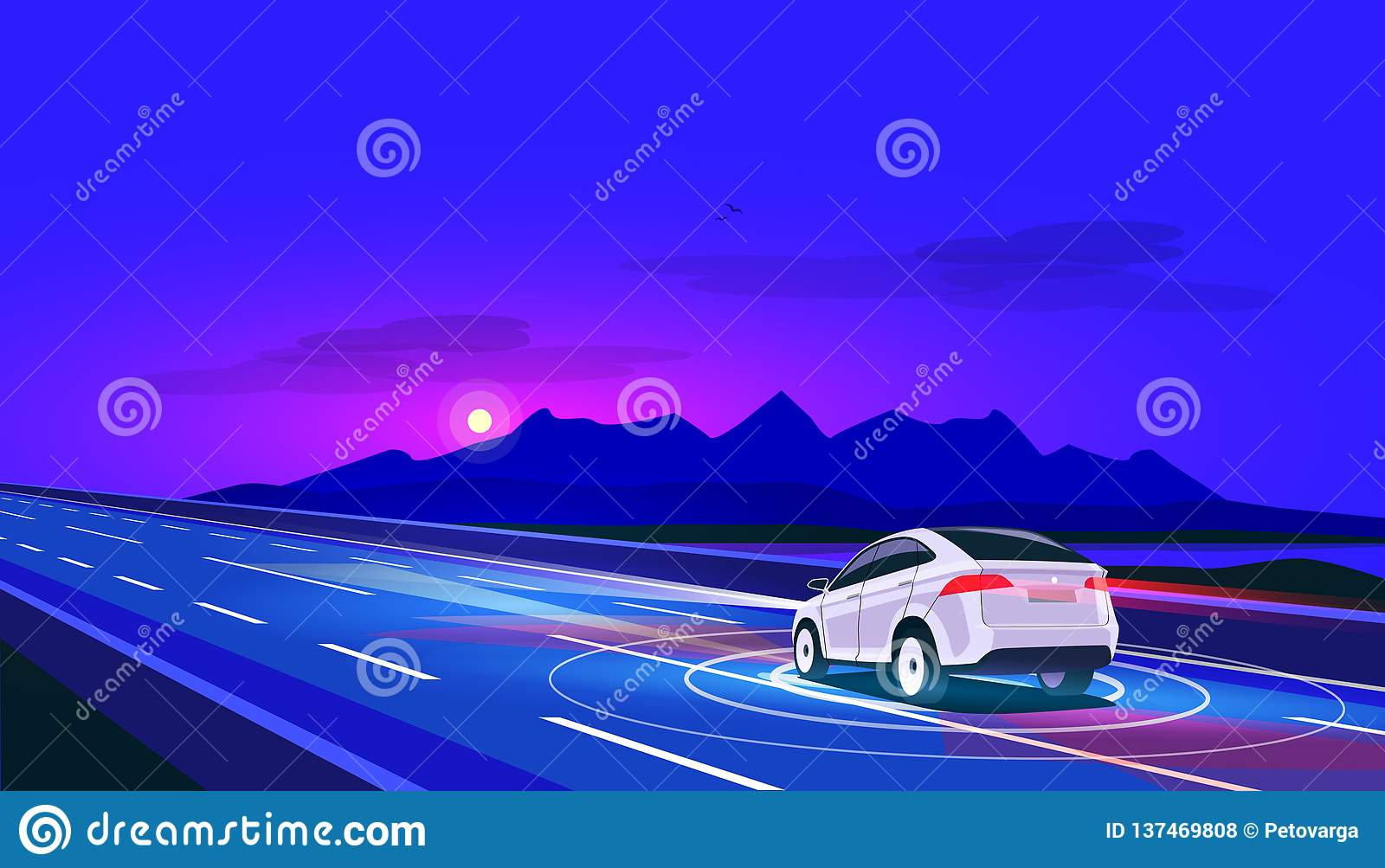 Smart Autonomous Driverless Electric Car Driving on Road at Night with Mountain Landscape