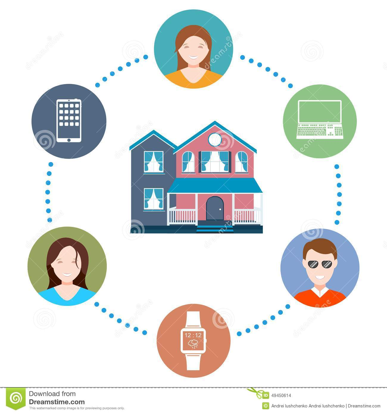 Vector illustration of a smart home stock illustration for Smart home technology definition