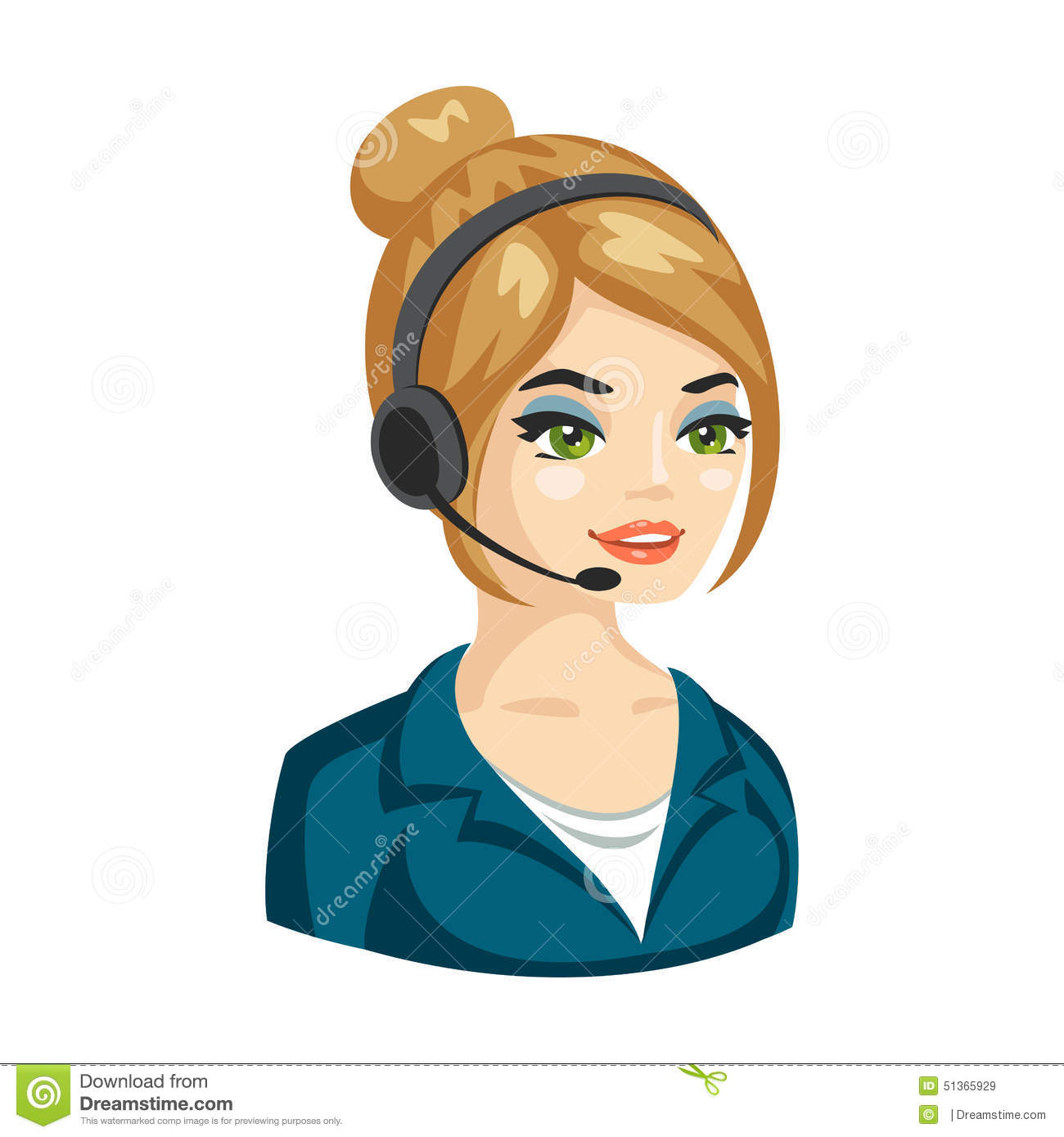 Vector Illustration Of Smiling Cute Woman Working As