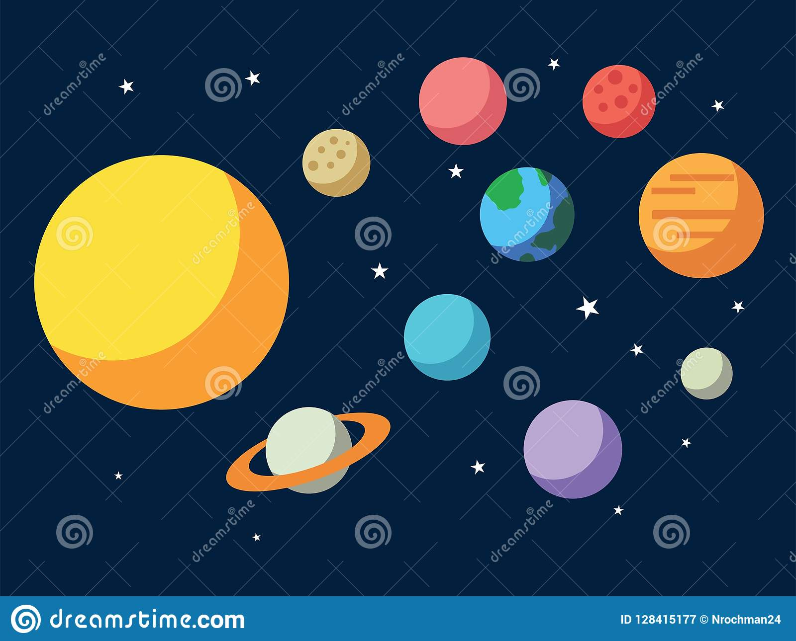 Vector illustration of Solar system. All planets Sun Mercury Venus Moon Earth Mars in the sky. Space, universe galaxy astronomy sc