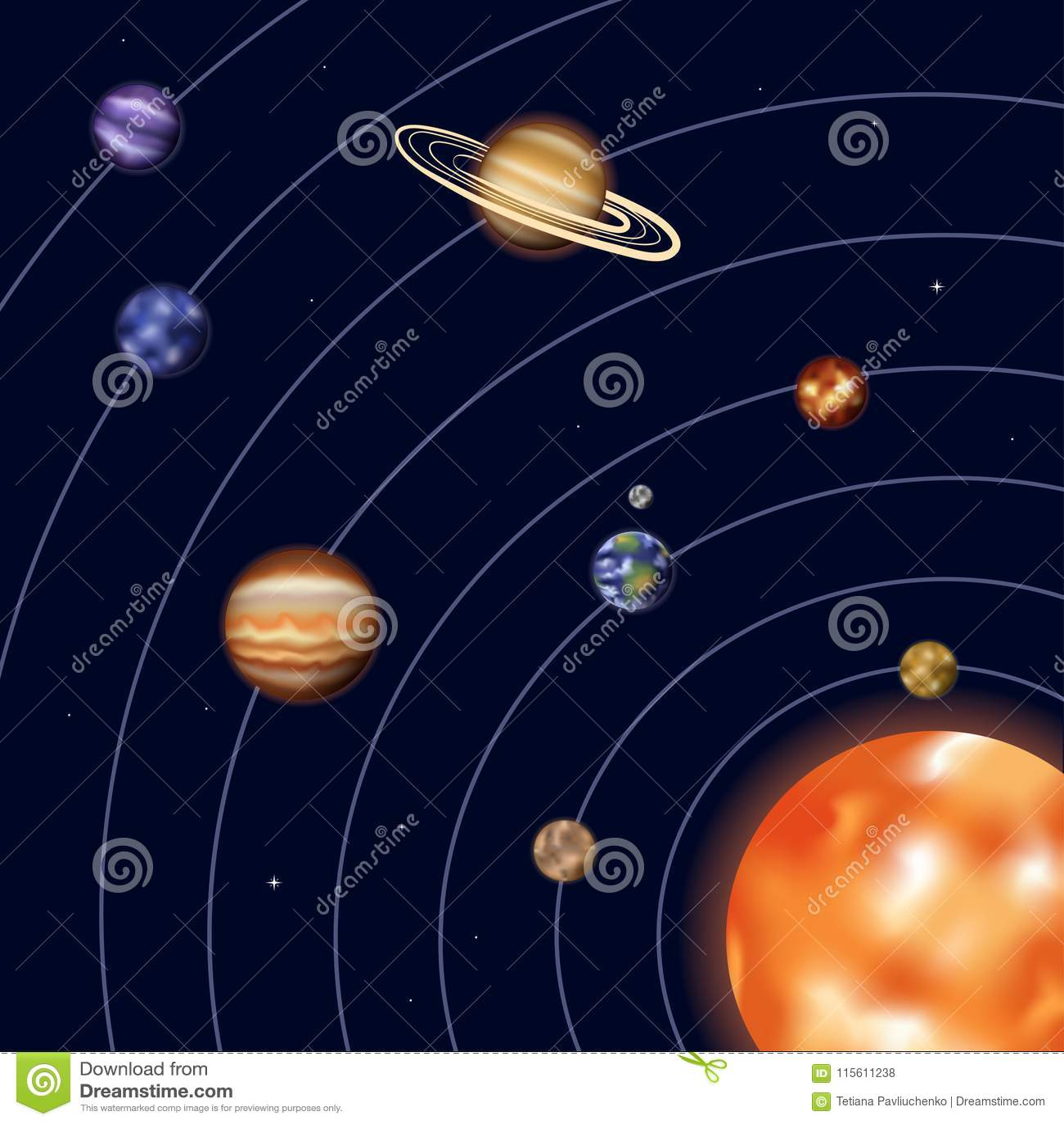 Includin The Solar System Diagram Of Earths Moon Modern Design Universe Today Vector Illustration Stock Rh Dreamstime Com