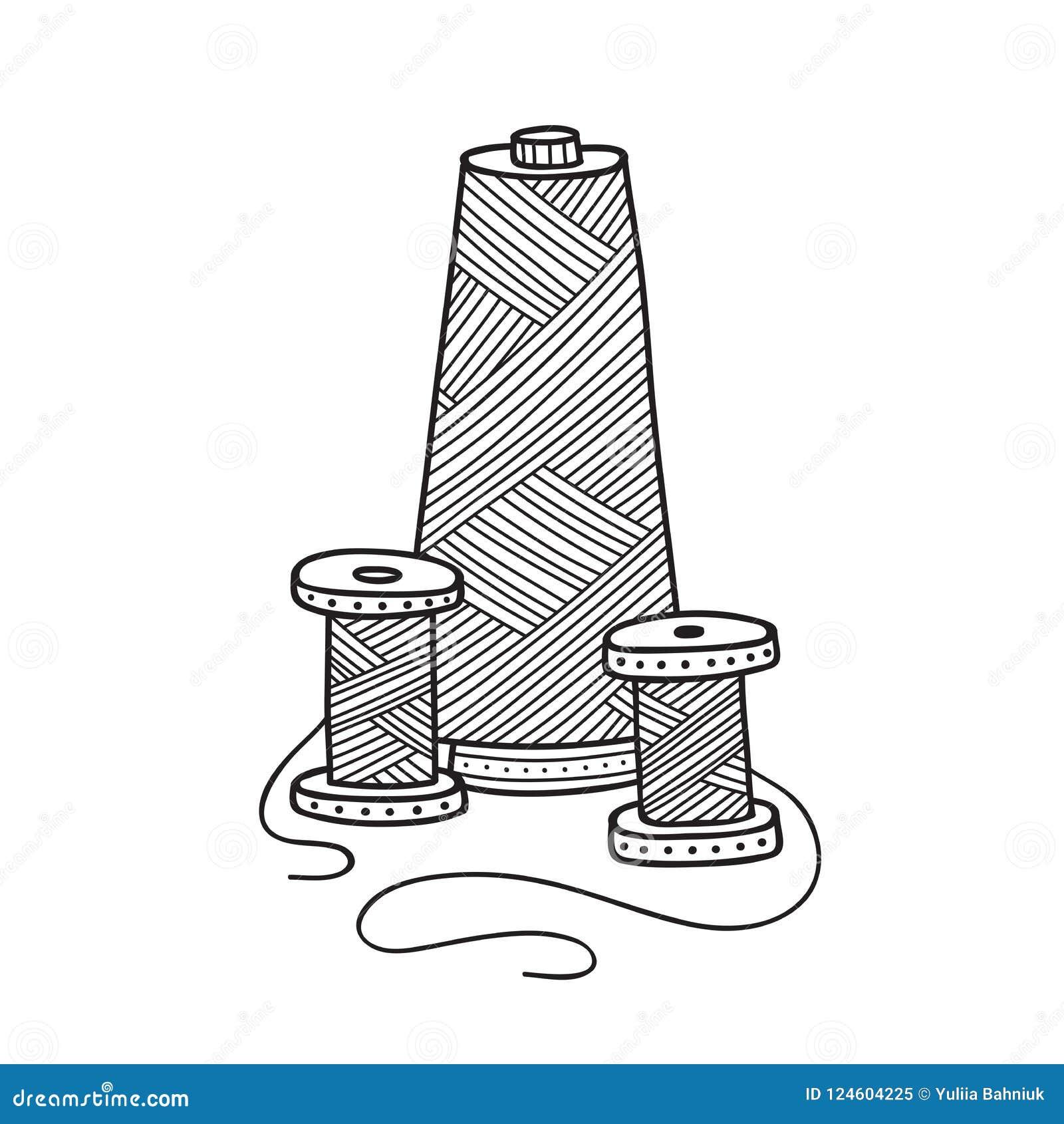 Vector Illustration Of Spool Of Thread. Stock Vector - Illustration ...