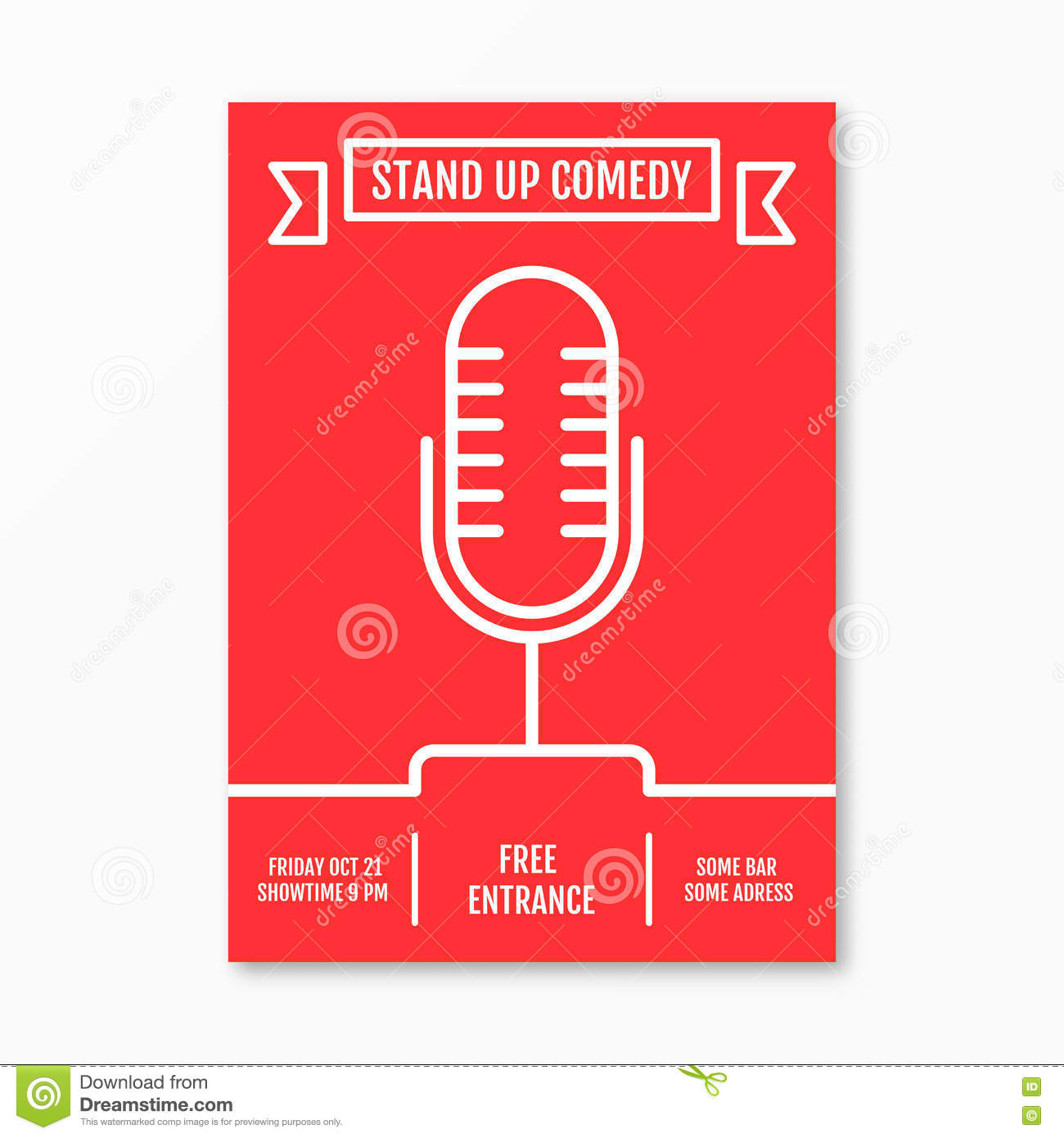 Vector Illustration of stand up Comedy in Night Club event