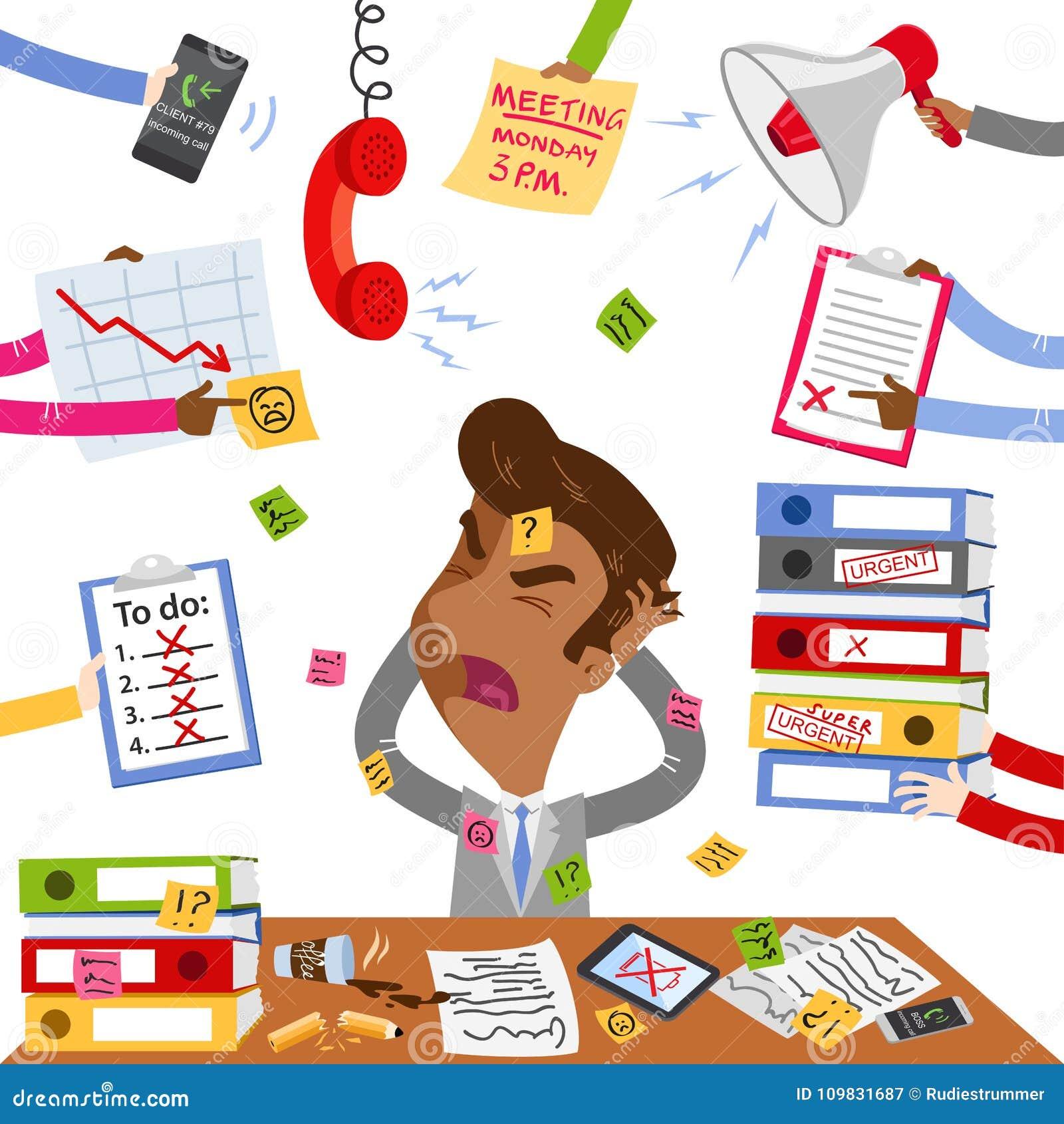 overwhelmed paperwork stock illustrations – 217 overwhelmed