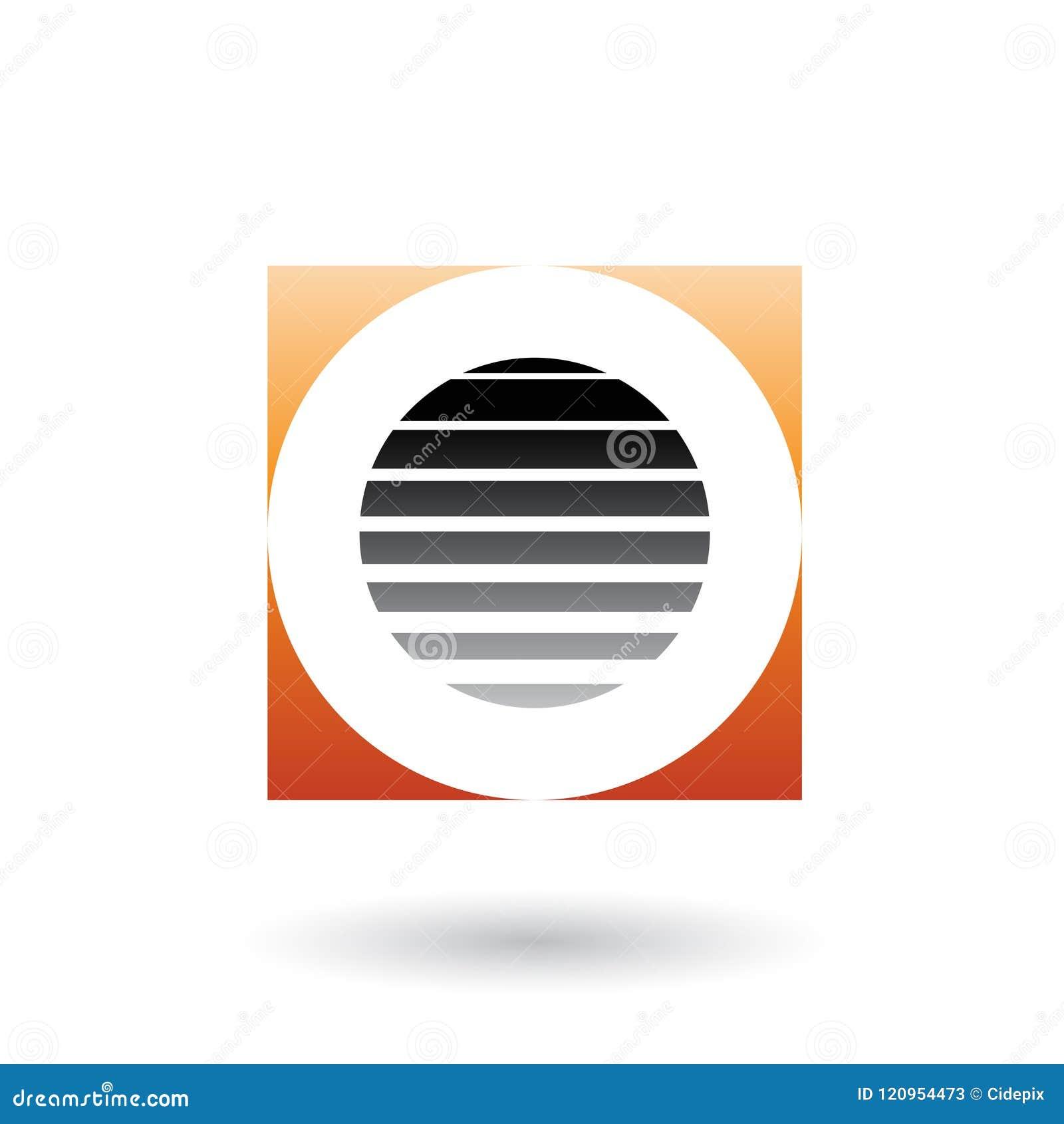 Striped Square Orange And Black Icon For Letter O Vector