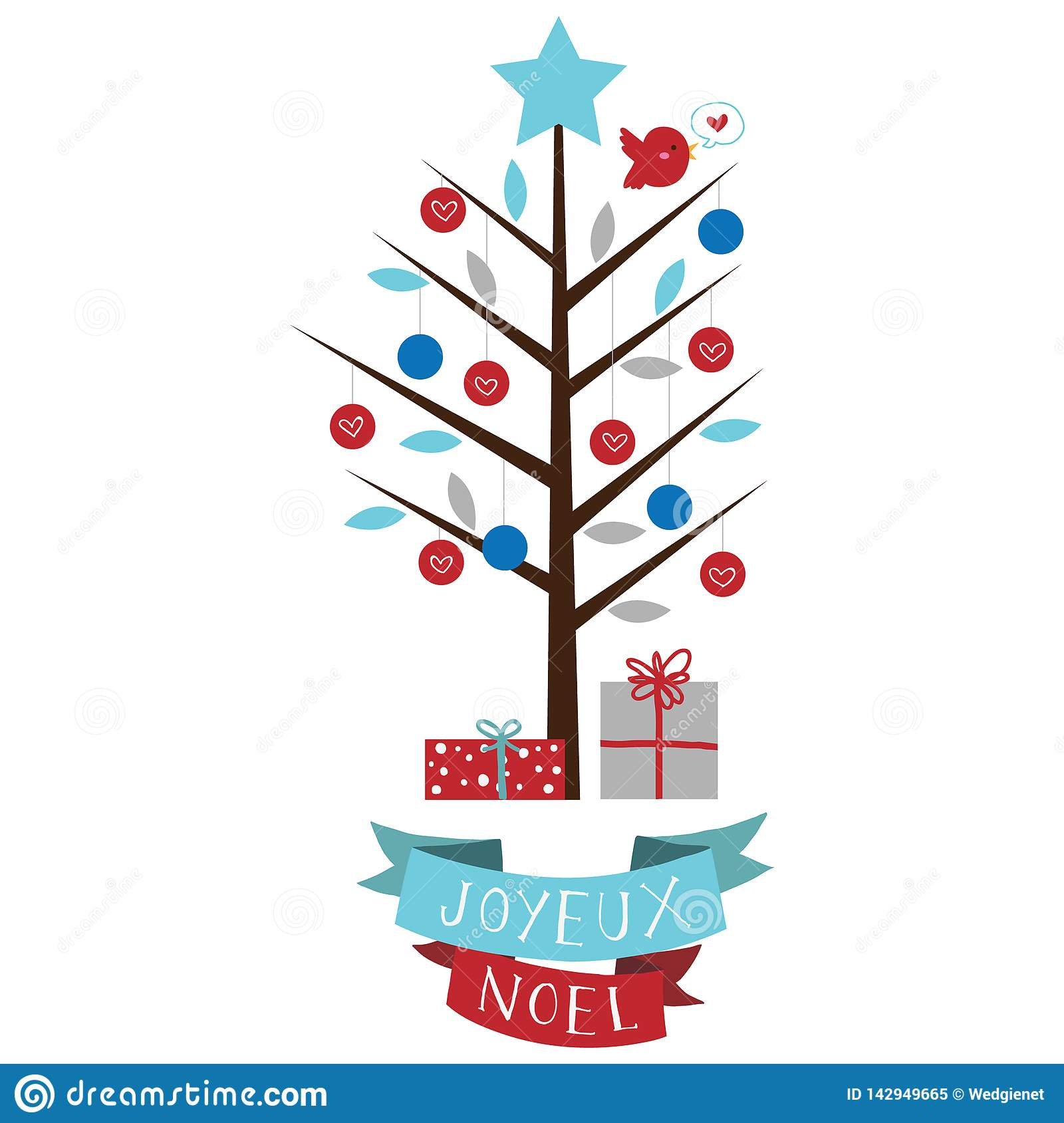 Vector illustration of stylized Christmas holiday tree