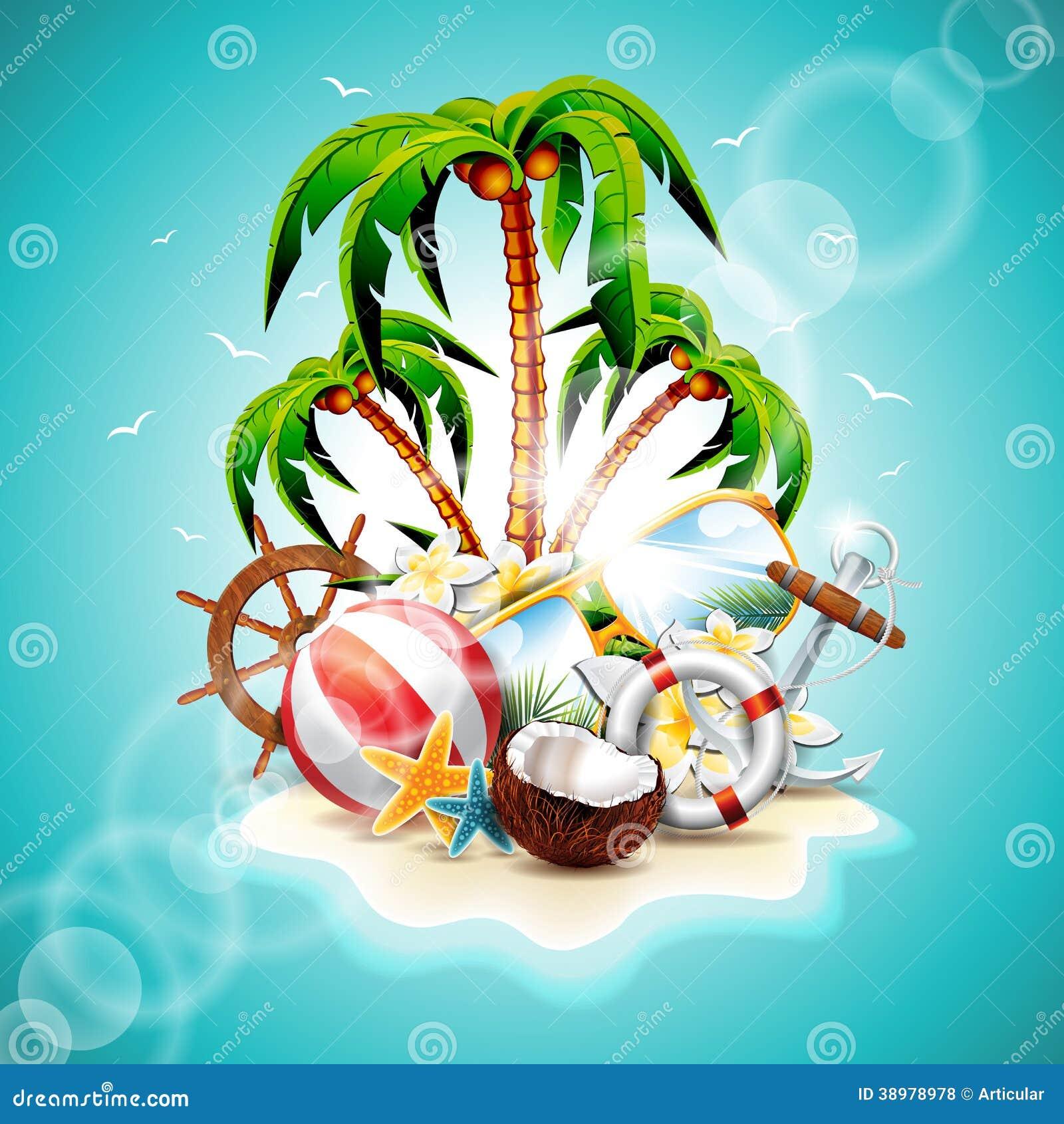 Island Christmas Theme.Vector Illustration On A Summer Holiday Theme Stock Vector