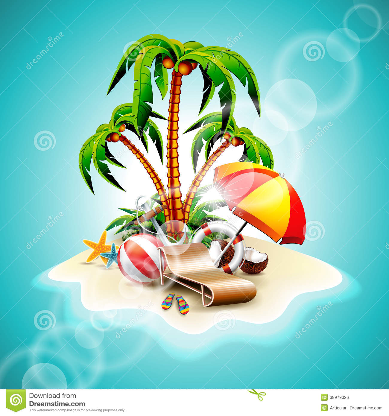 Party Island Beach: Vector Illustration On A Summer Holiday Theme Stock Vector
