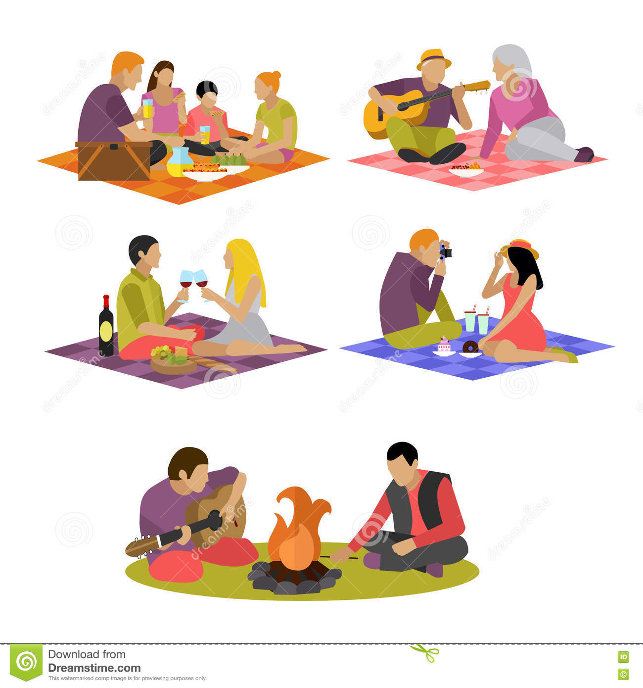 vector illustration of summer recreation family picnic free picnic clip art images free picnic clipart