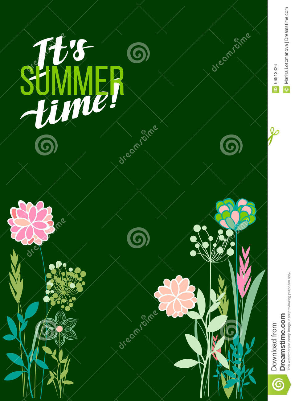 Vector Illustration Summer Themes The Flowers Background Is Stock