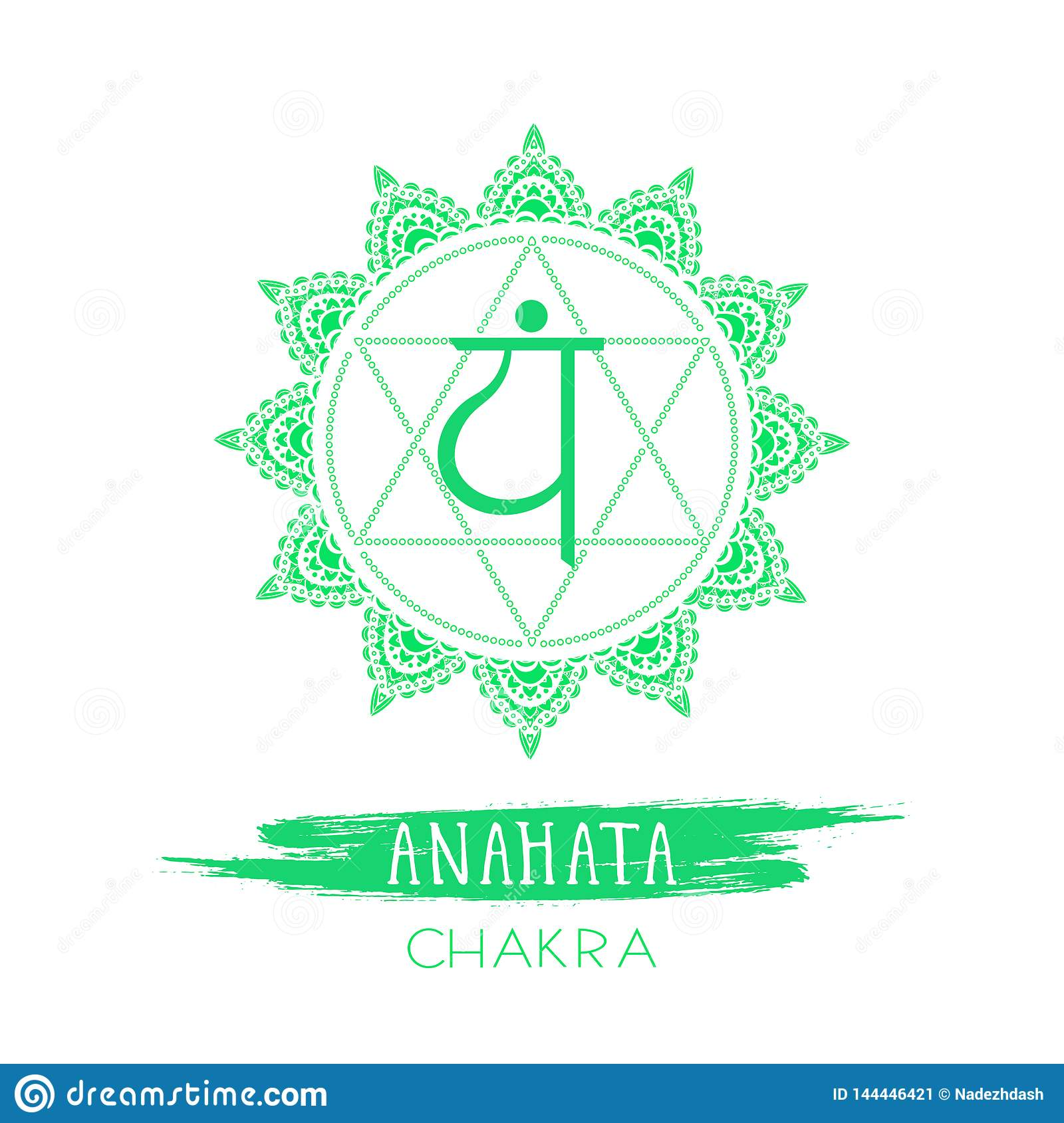 Vector illustration with symbol Anahata - Heart chakra and watercolor element on white background