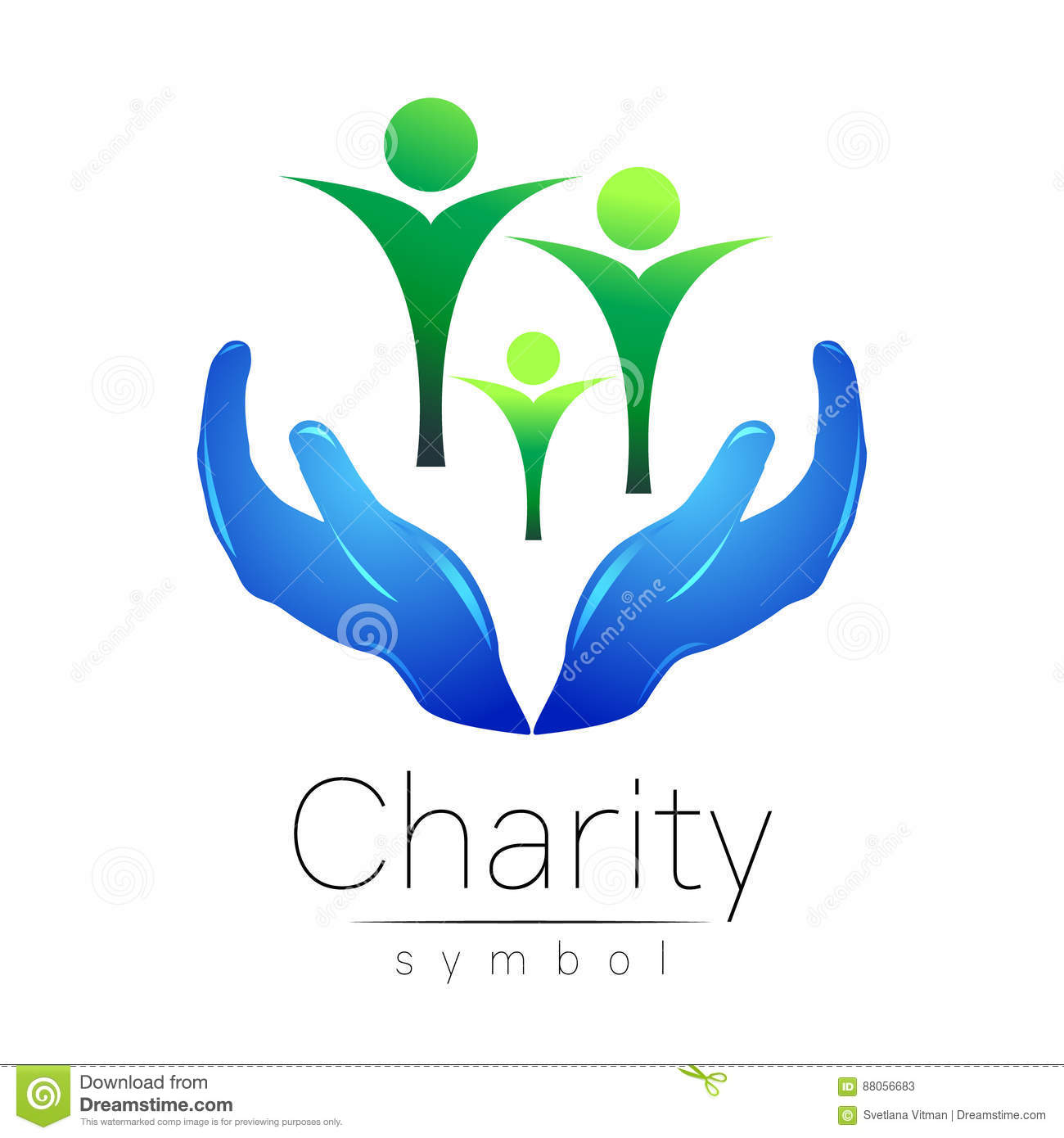 Vector Illustration Symbol Of Charity Sign Hand Isolated On White