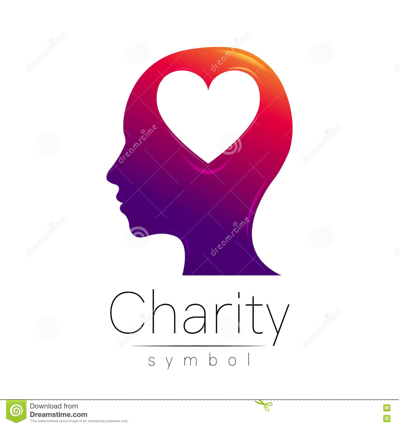 Vector illustration symbol of charity sign head heart isolated symbol of charity sign head heart isolated on white backgroundolet icon company web card biocorpaavc