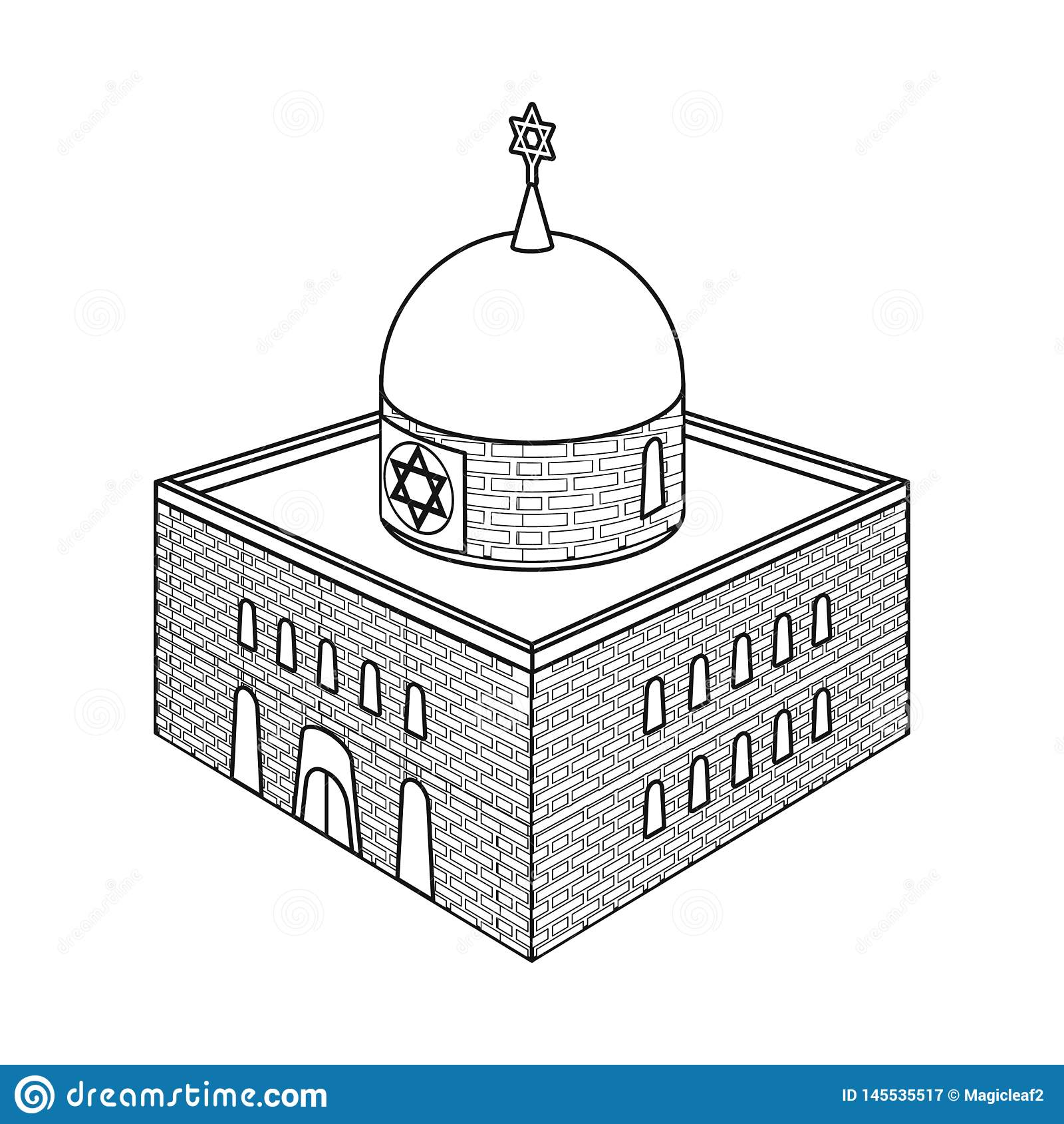 Vector design of synagogue and judaism sign. Collection of synagogue and jewish stock symbol for web.