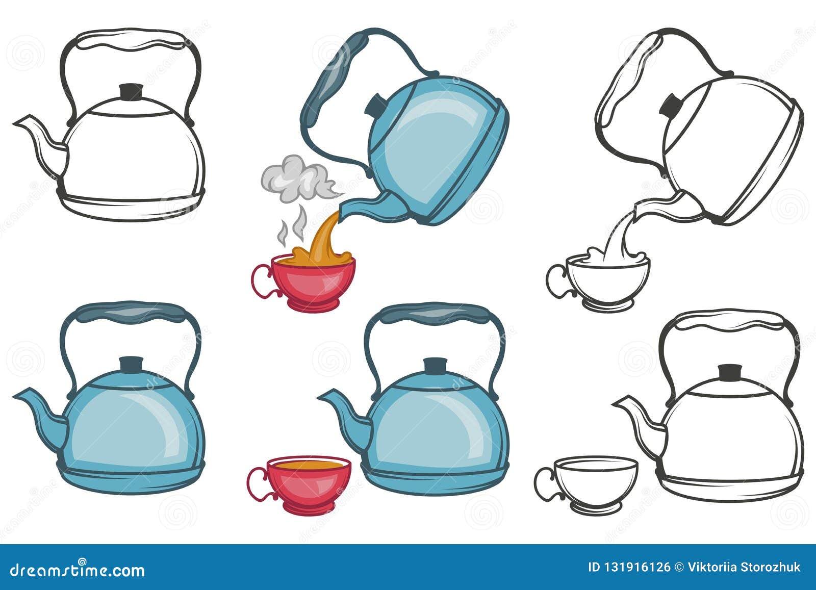 Vector Illustration Of Tea Kettle, Hand Drawn Teapot On ...