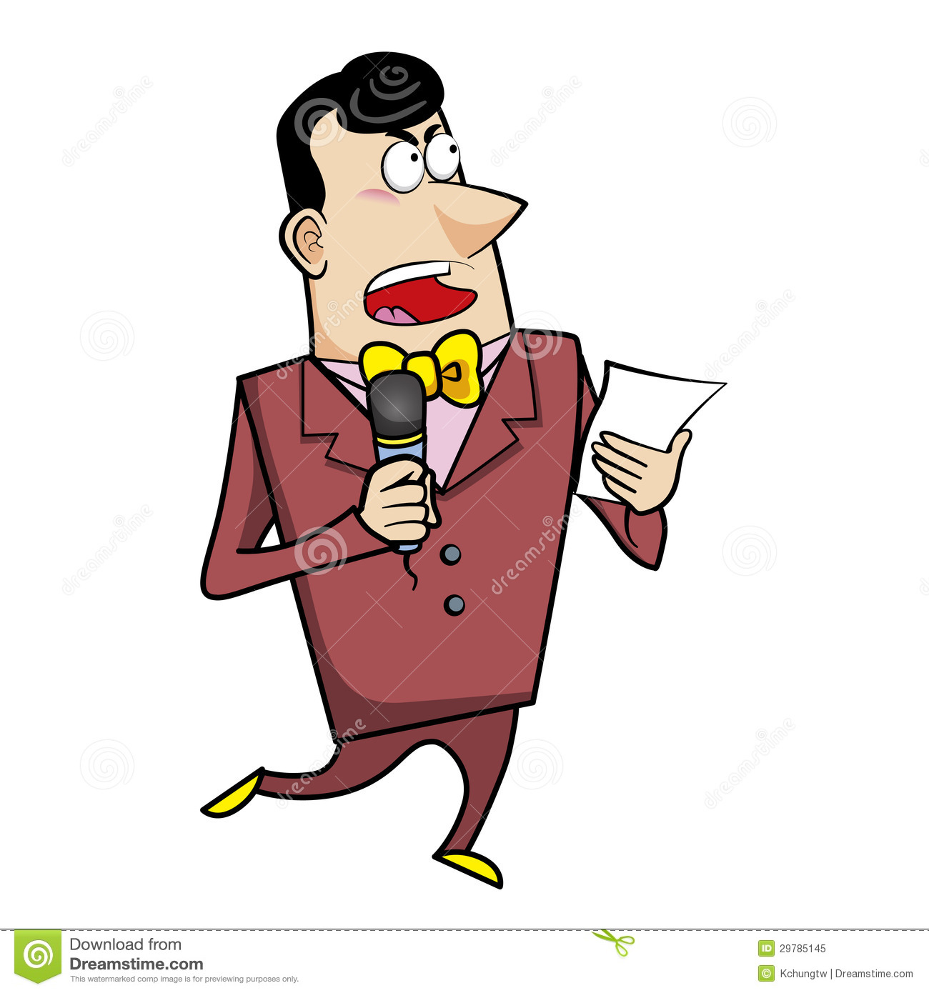 Cartoon Host Emcee With Microphone Royalty Free Stock Photo - Image ...