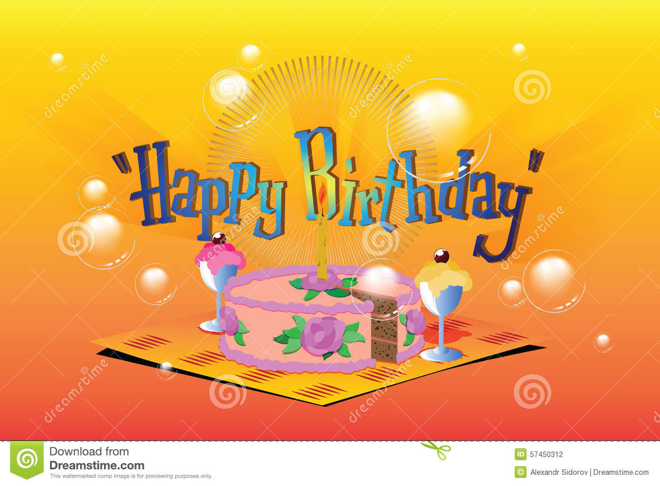 Vector Illustration Template Birthday Greetings Cake Ice Cream