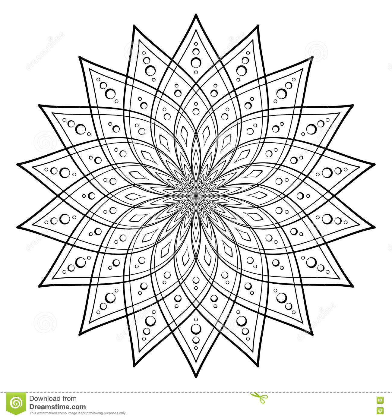 vector illustration template of mandala for coloring round