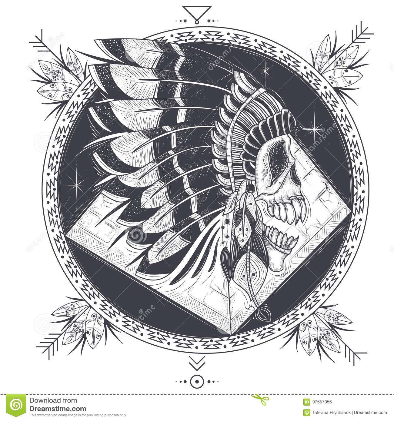 Vector illustration of a template for a tattoo with a human skull in vector illustration of a round template for a tattoo with a human skull in an indian feather hat and abstract pattern design element print for t shirts maxwellsz