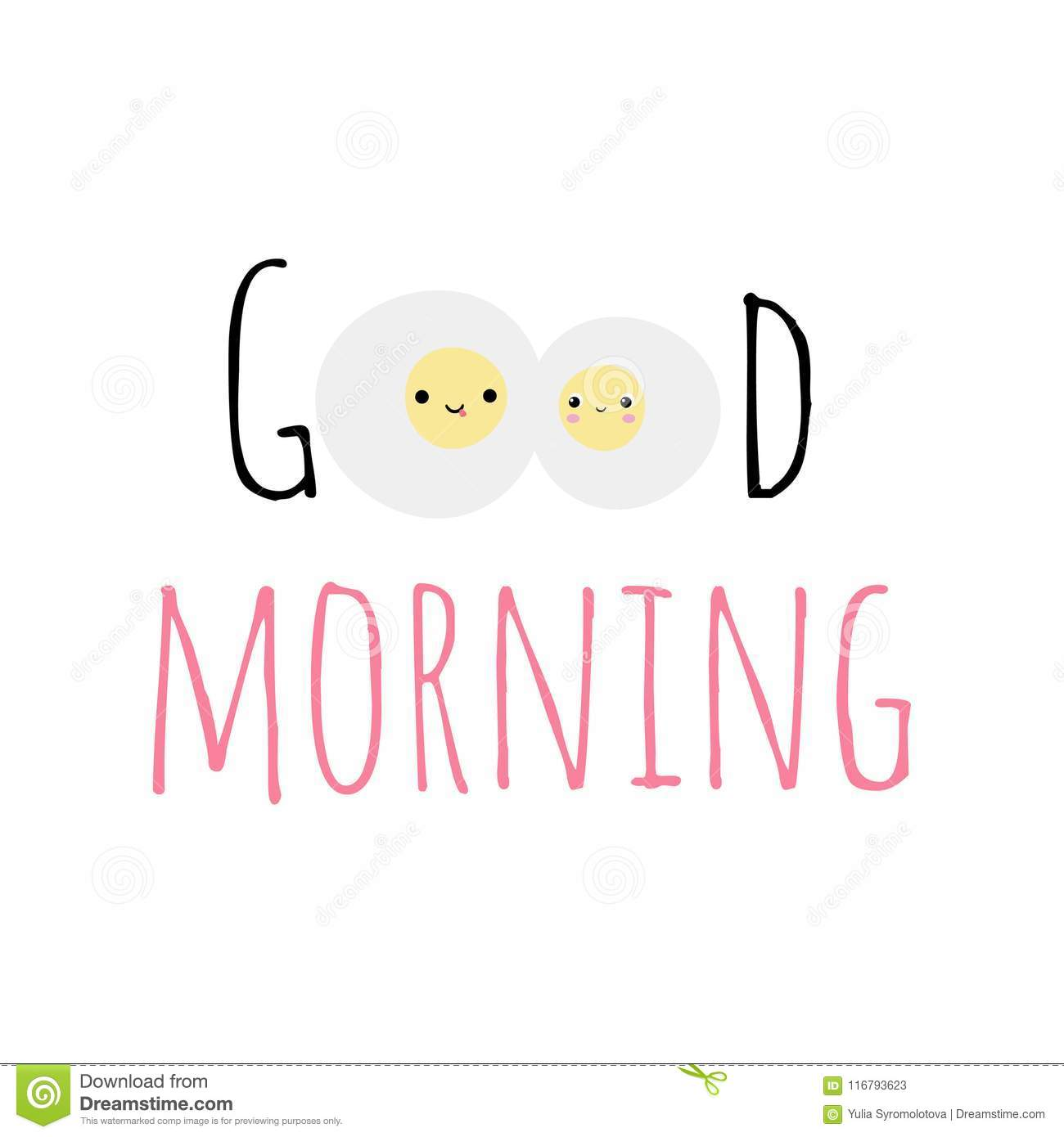 vector illustration with text good morning and fried eggs stock