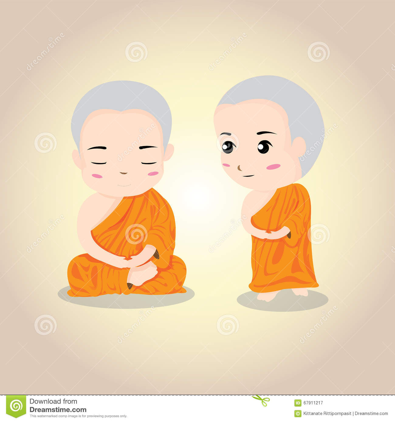 Cute Character Design Illustrator : Vector illustration thai monk stock image