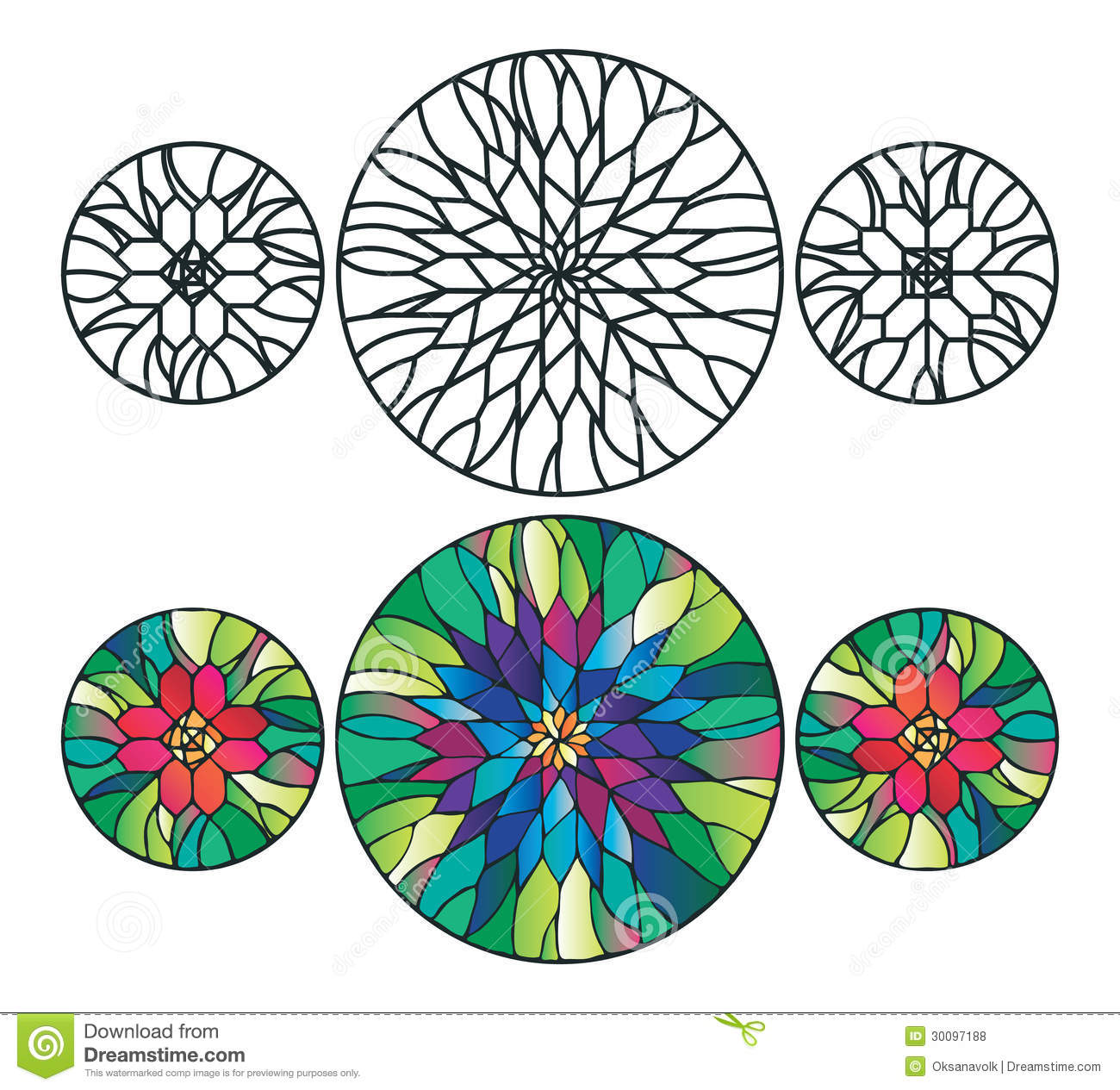Flower Stained Glass Ornaments Vector Illustration Royalty ...