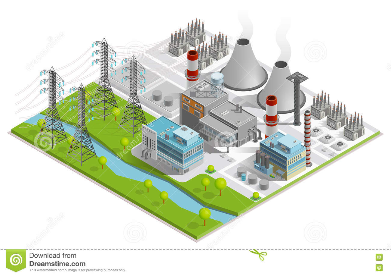 vector illustration of thermal power station stock vector