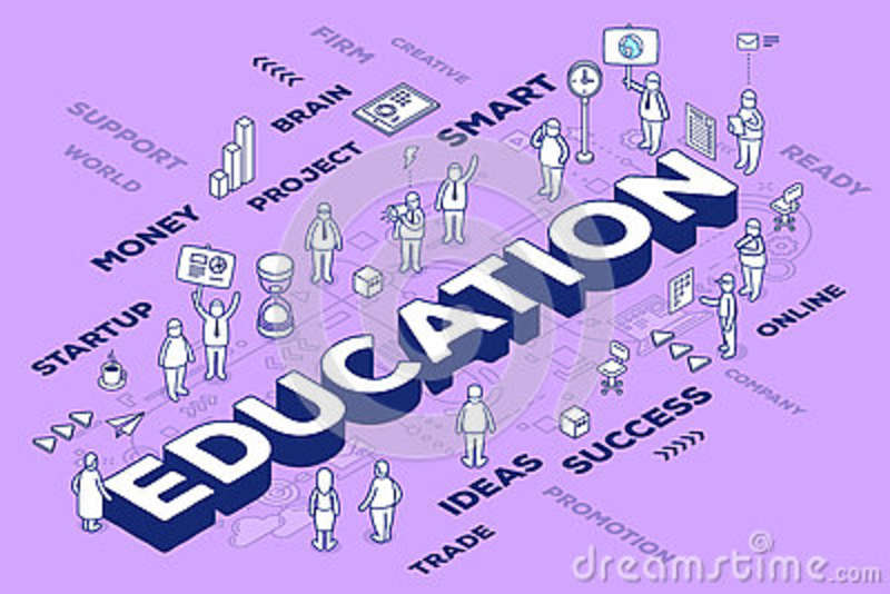 Vector illustration of three dimensional word education with people and tags on purple background with scheme. Knowledge concept.