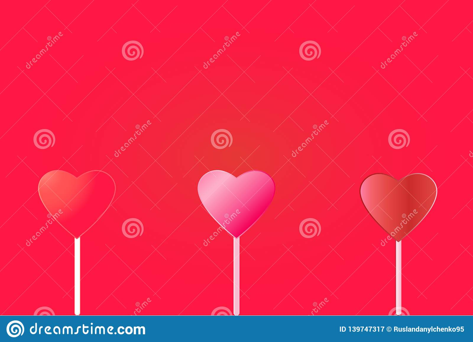 Vector illustration of three hearts on a red background. Valentine`s Day