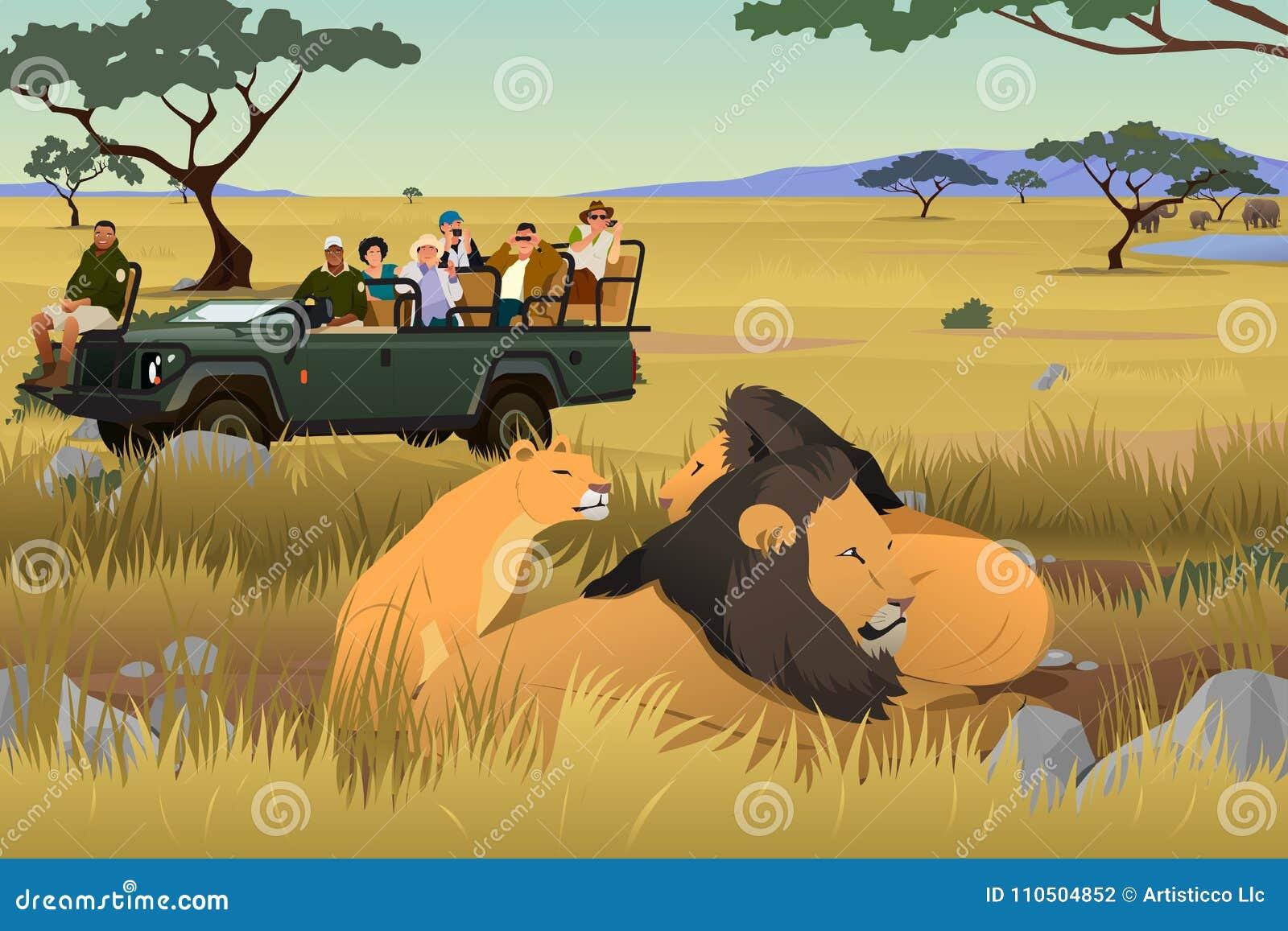 Tourist On African Safari Trip Illustration Stock Vector