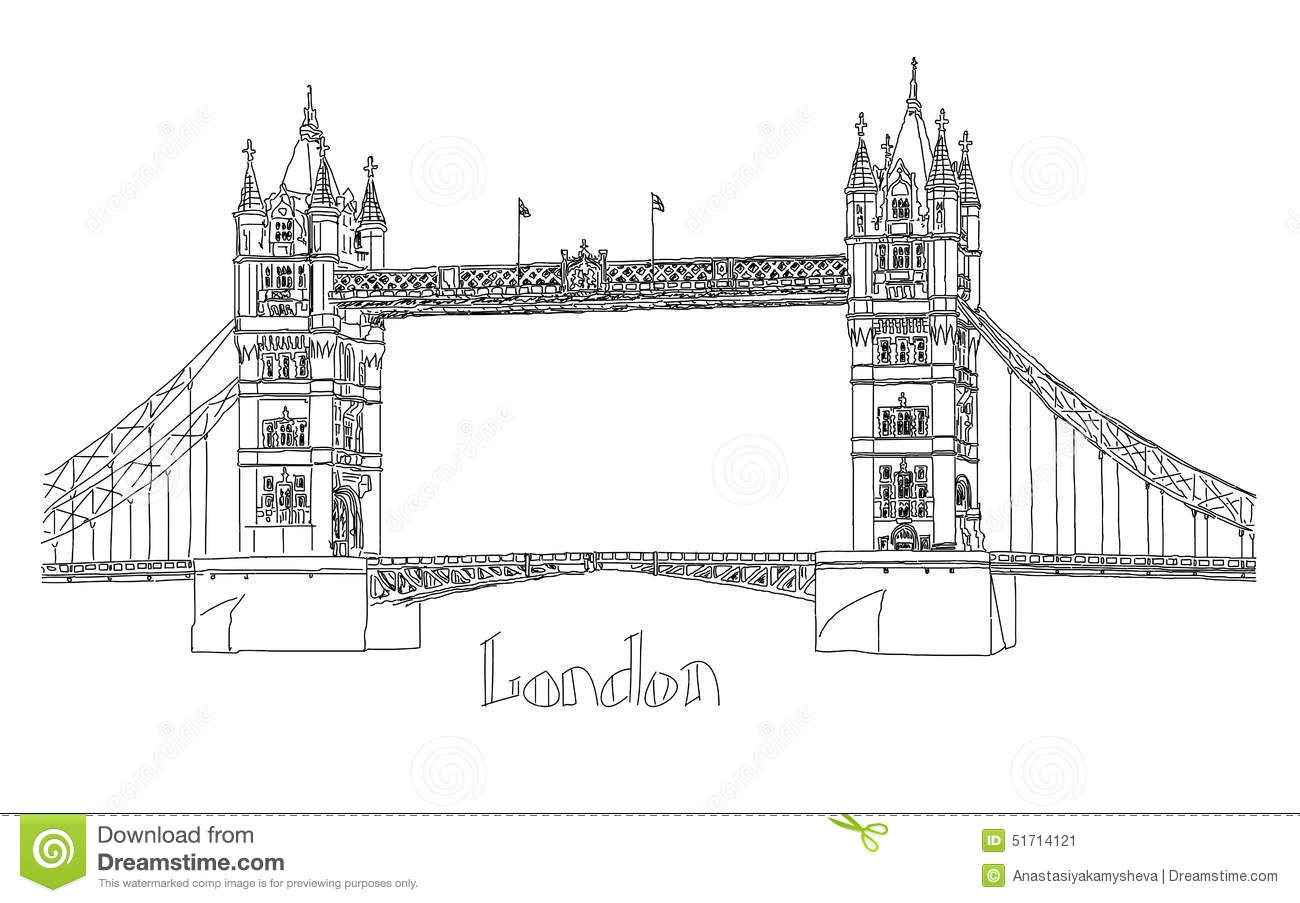 Vector illustration of tower bridge london stock for Architecte tower bridge