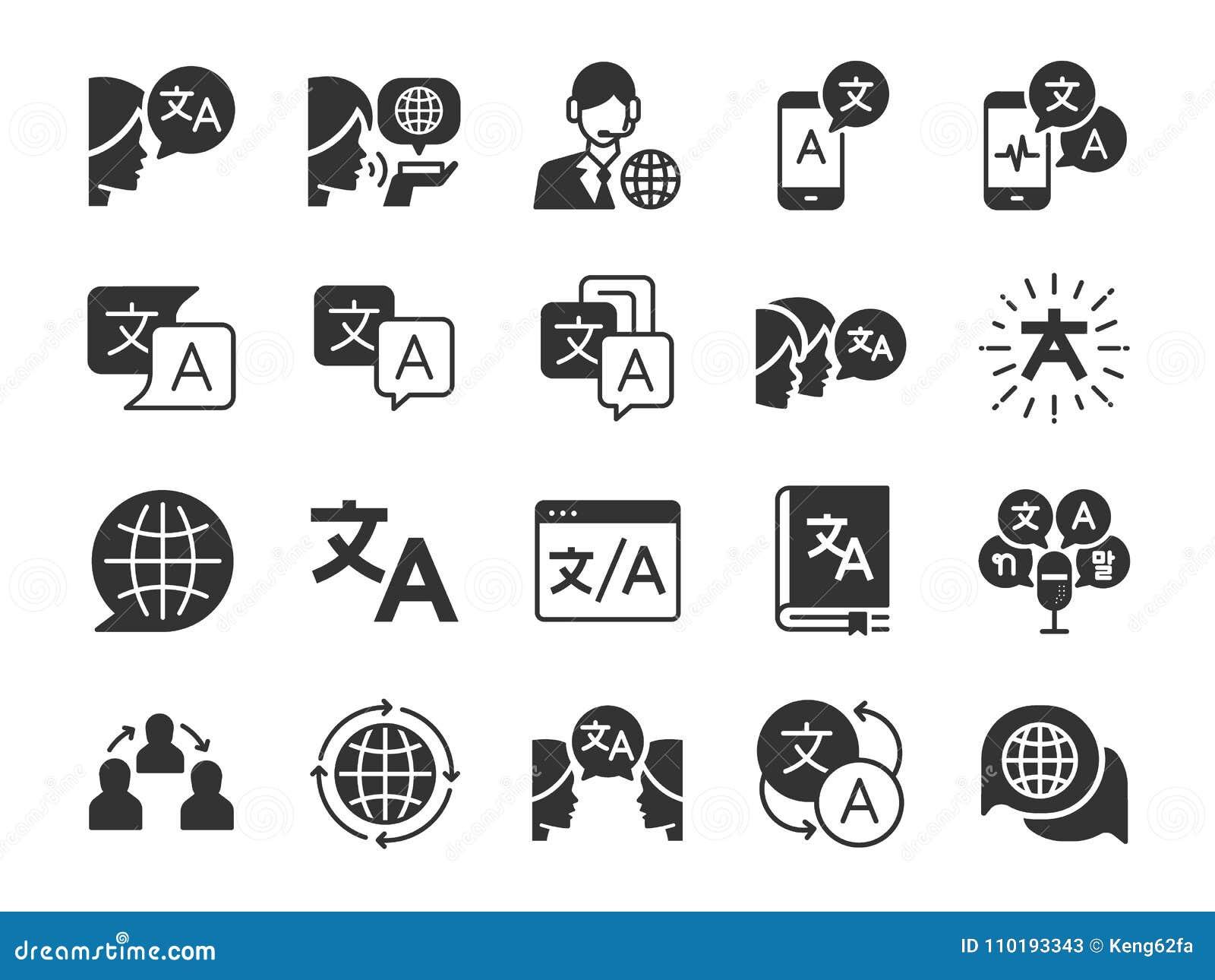 Translation line icon set. Included the icons as translate, translator, language, bilingual, dictionary, communication, bi-racial