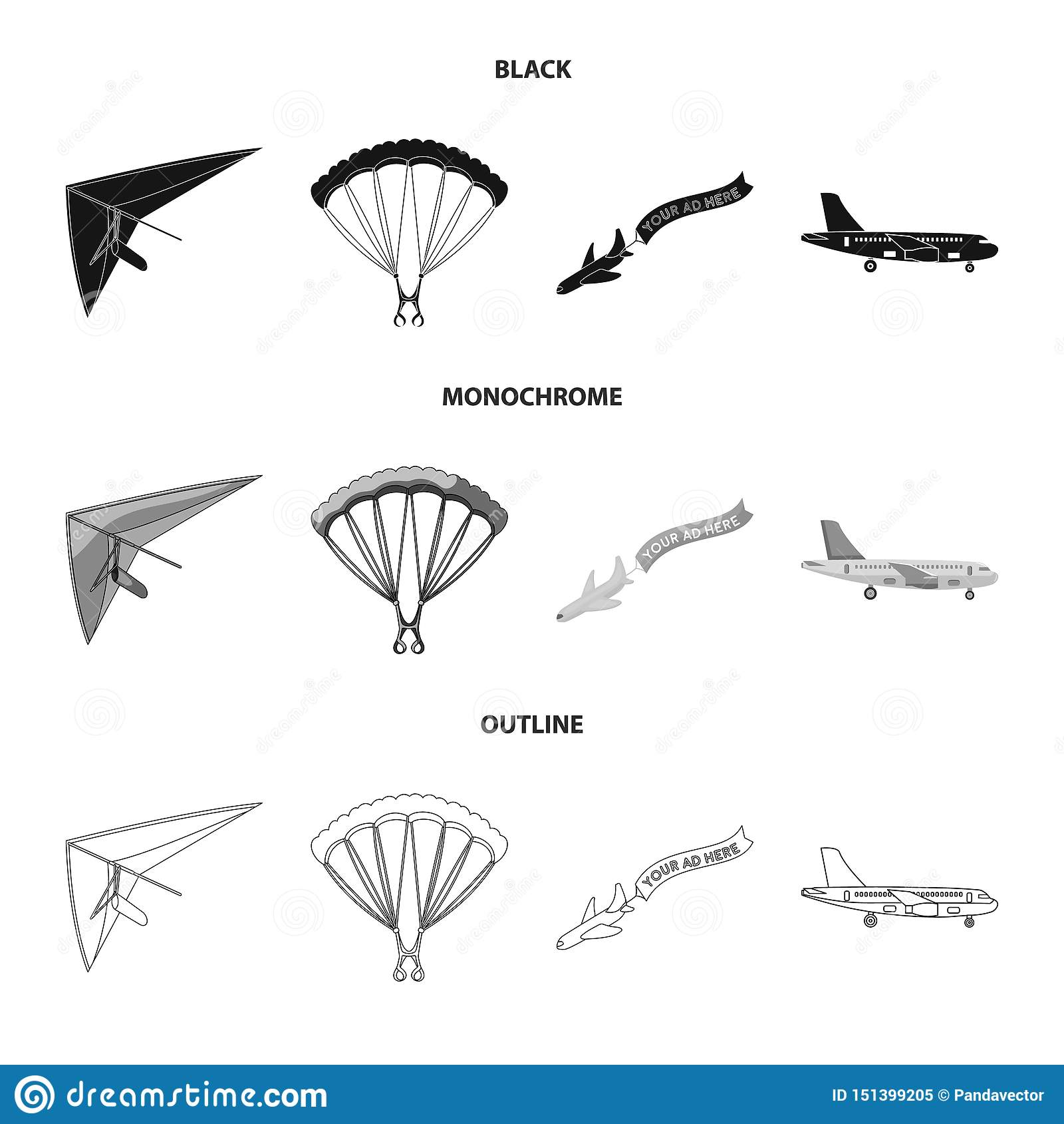Vector illustration of transport and object icon. Set of transport and gliding vector icon for stock.