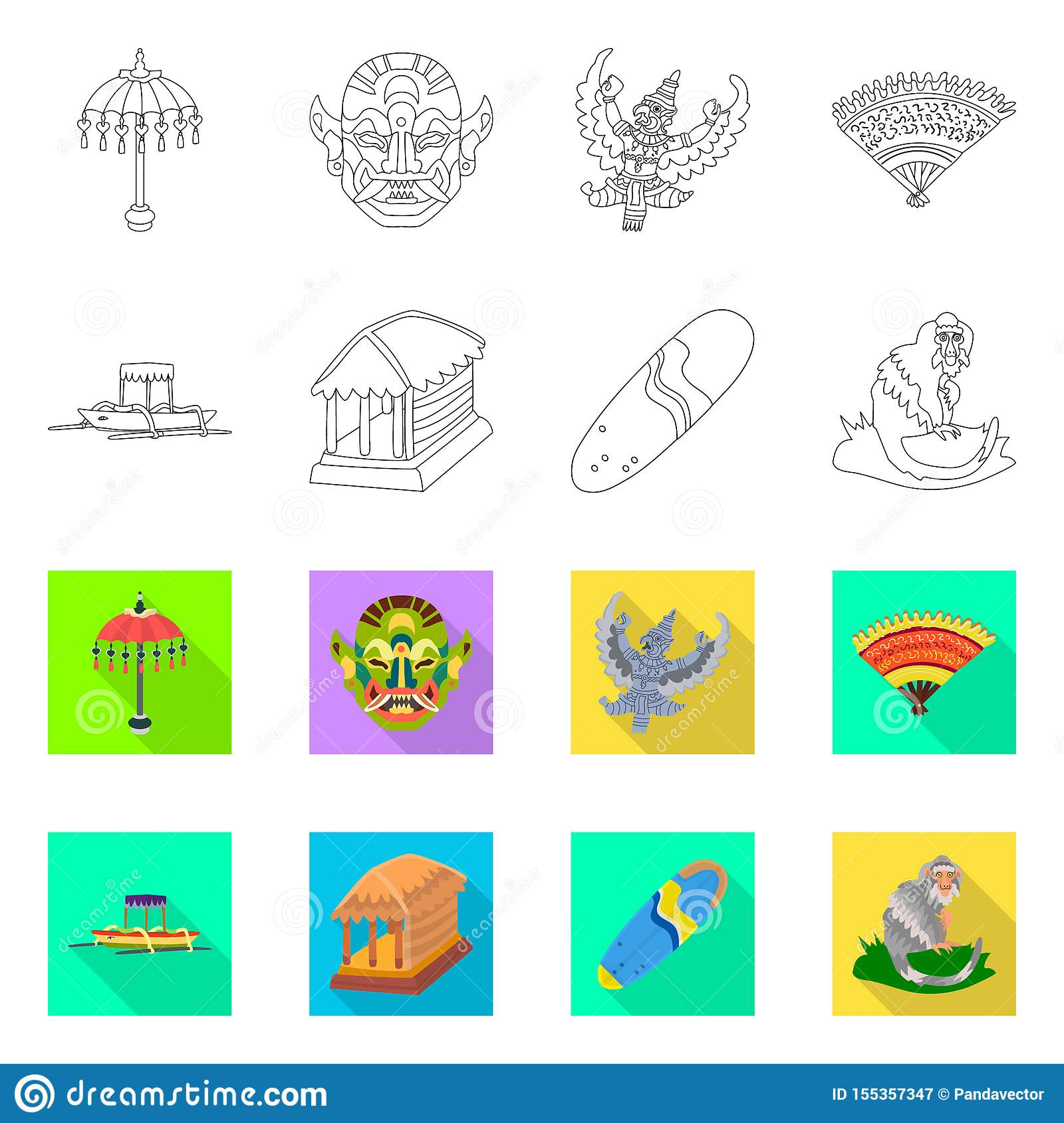 Vector illustration of and travel icon. Collection of and traditional stock vector illustration.