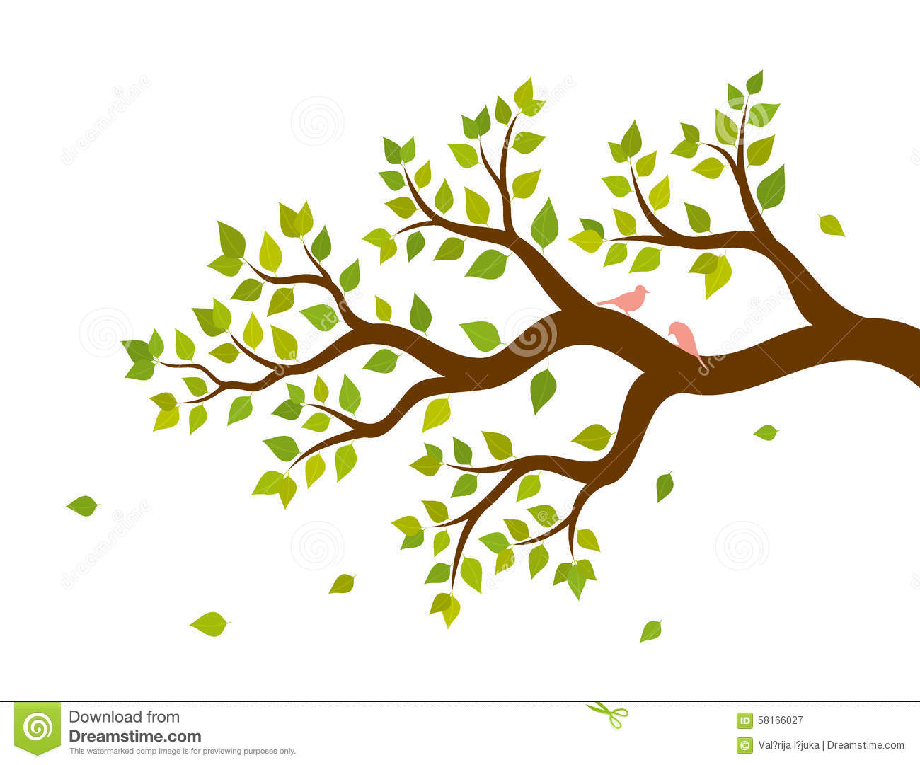 tree branch with leaves vector. royalty-free vector. download vector illustration of tree branch with green leaves t