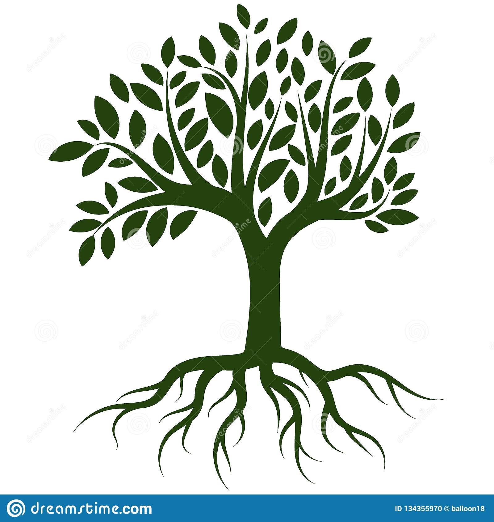 Tree roots logo vector